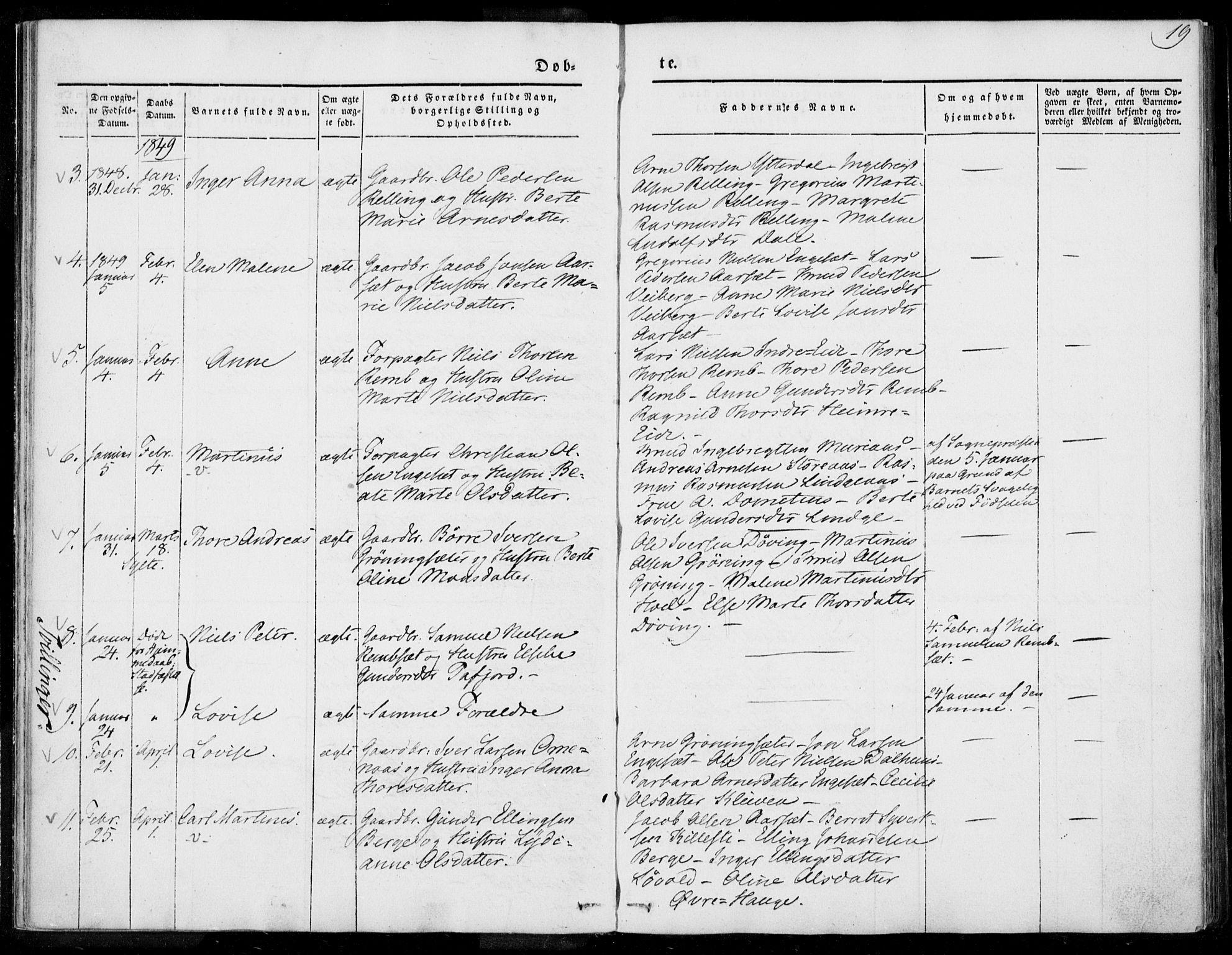 SAT, Ministerialprotokoller, klokkerbøker og fødselsregistre - Møre og Romsdal, 519/L0249: Ministerialbok nr. 519A08, 1846-1868, s. 19