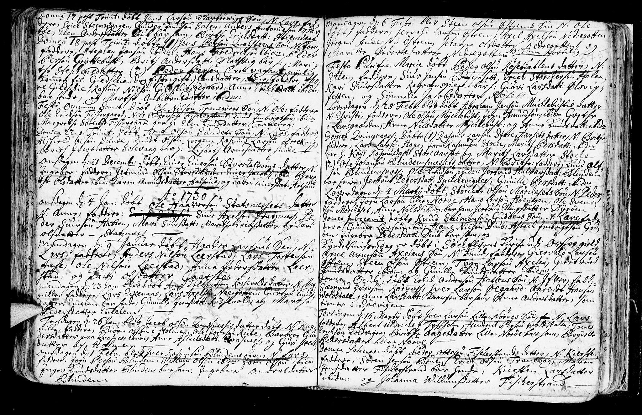 SAT, Ministerialprotokoller, klokkerbøker og fødselsregistre - Møre og Romsdal, 528/L0390: Ministerialbok nr. 528A01, 1698-1739, s. 374-375