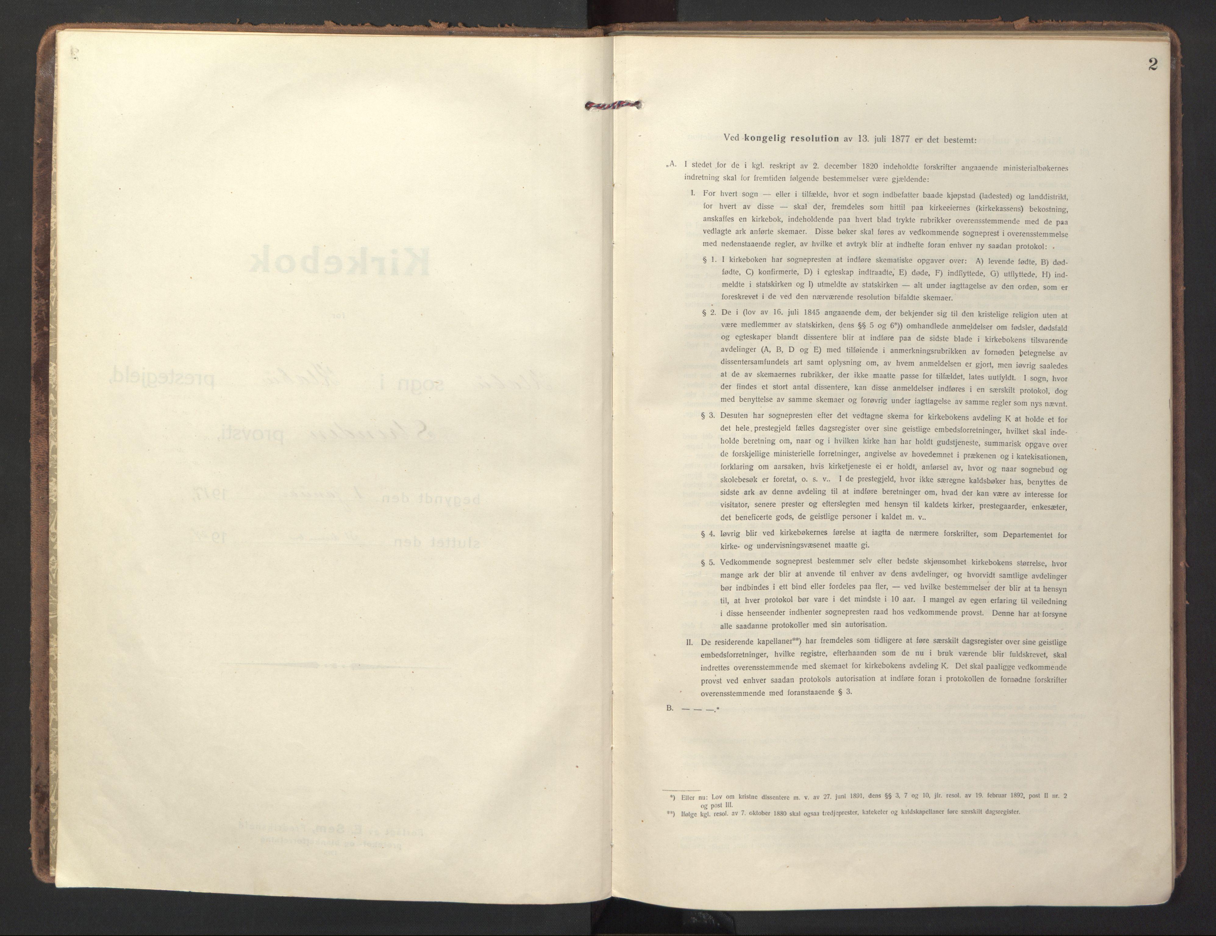 SAT, Ministerialprotokoller, klokkerbøker og fødselsregistre - Sør-Trøndelag, 618/L0449: Ministerialbok nr. 618A12, 1917-1924, s. 2
