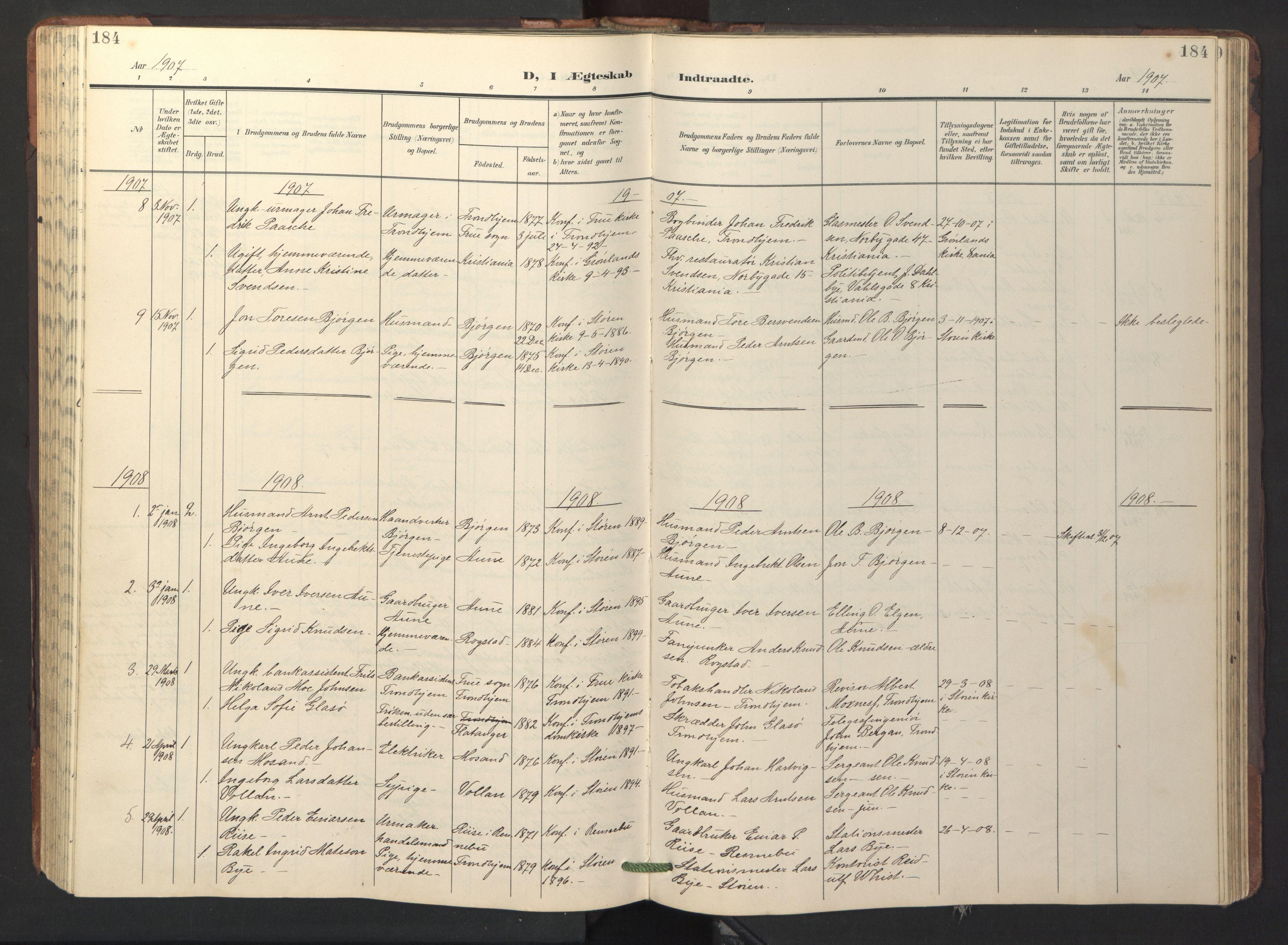 SAT, Ministerialprotokoller, klokkerbøker og fødselsregistre - Sør-Trøndelag, 687/L1019: Klokkerbok nr. 687C03, 1904-1931, s. 184