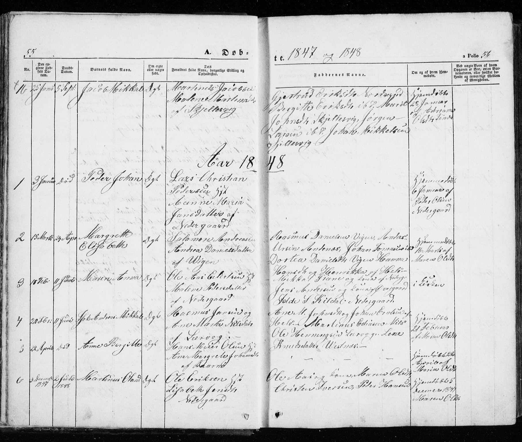 SATØ, Trondenes sokneprestkontor, H/Ha/L0010kirke: Ministerialbok nr. 10, 1840-1865, s. 55-56