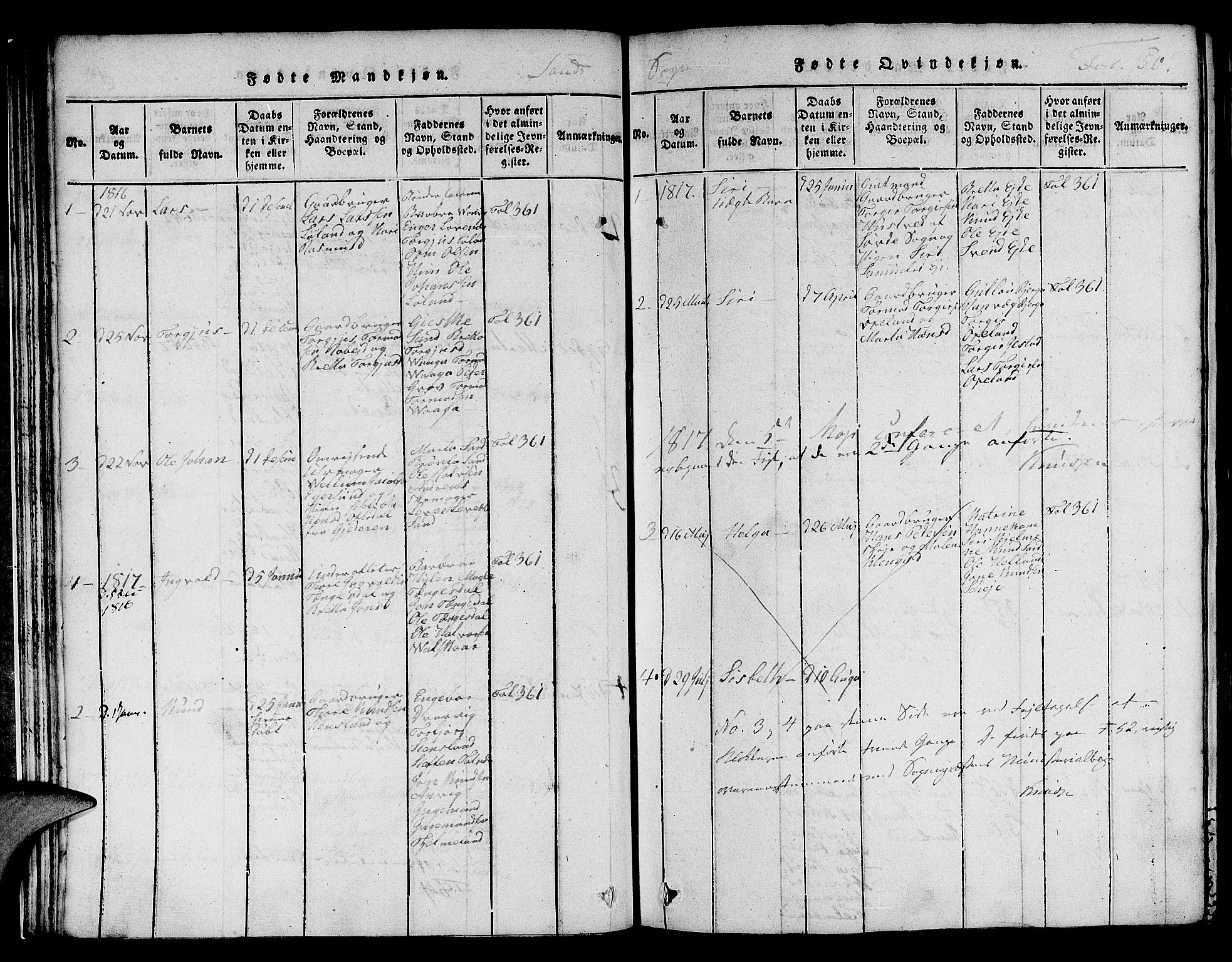 SAST, Jelsa sokneprestkontor, V: Klokkerbok nr. B 1 /2, 1816-1828, s. 50