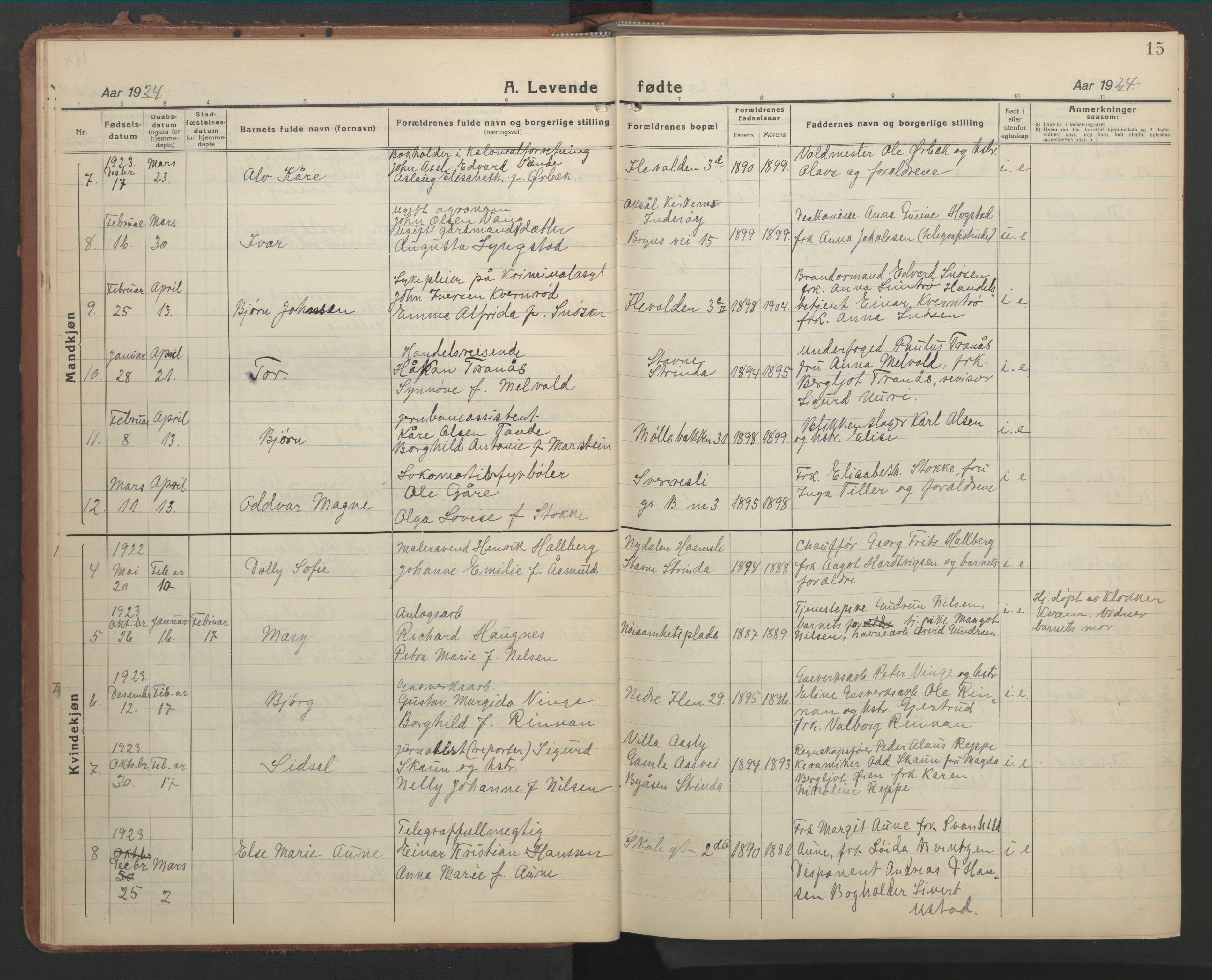 SAT, Ministerialprotokoller, klokkerbøker og fødselsregistre - Sør-Trøndelag, 603/L0174: Klokkerbok nr. 603C02, 1923-1951, s. 15