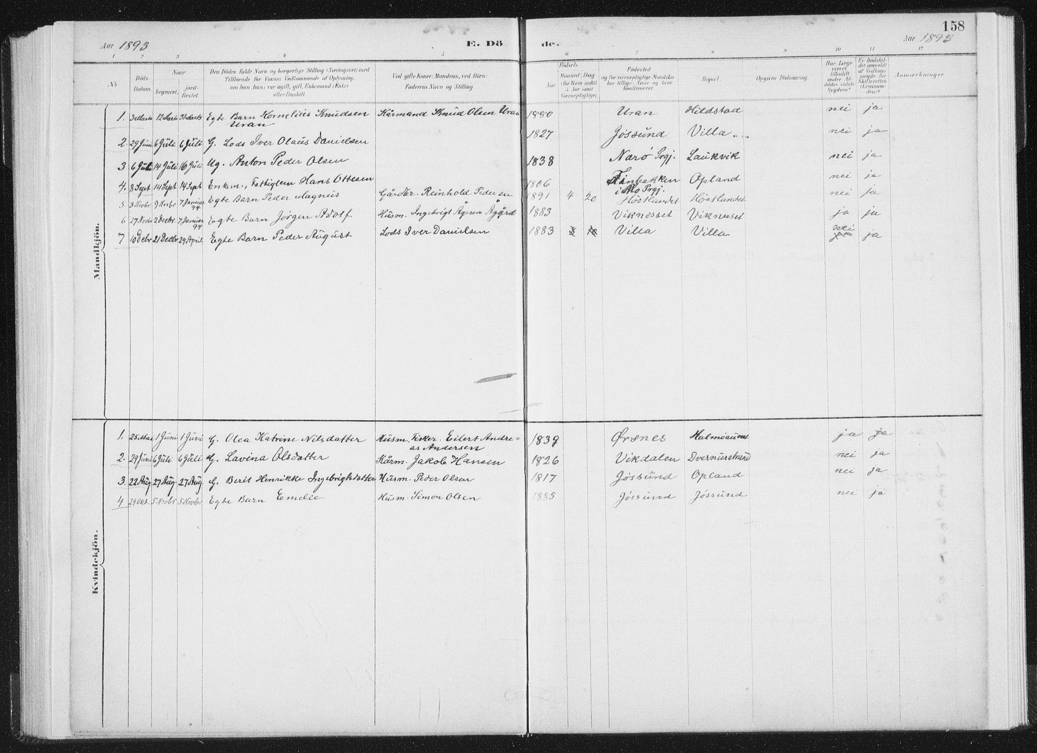 SAT, Ministerialprotokoller, klokkerbøker og fødselsregistre - Nord-Trøndelag, 771/L0597: Ministerialbok nr. 771A04, 1885-1910, s. 158