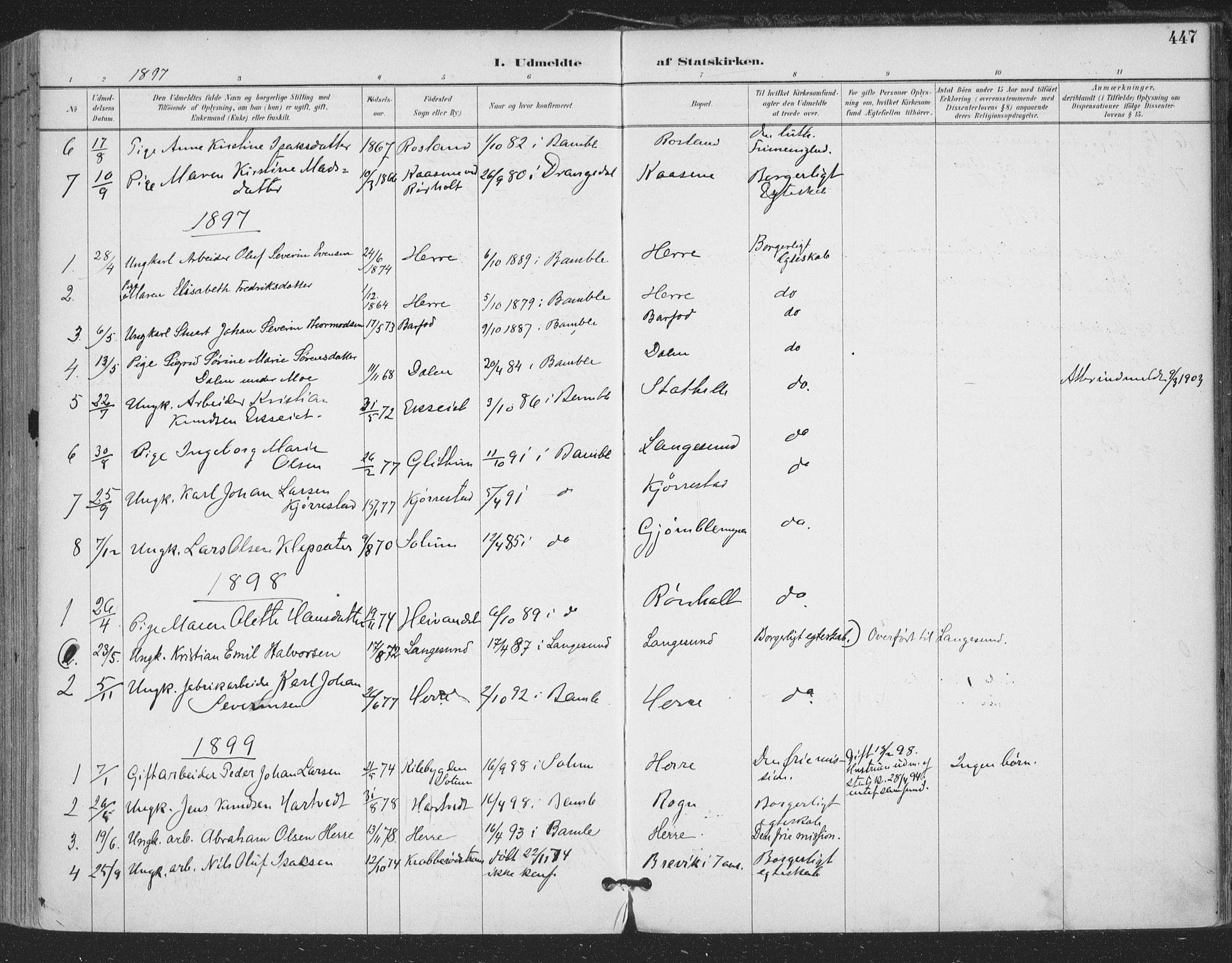 SAKO, Bamble kirkebøker, F/Fa/L0008: Ministerialbok nr. I 8, 1888-1900, s. 447