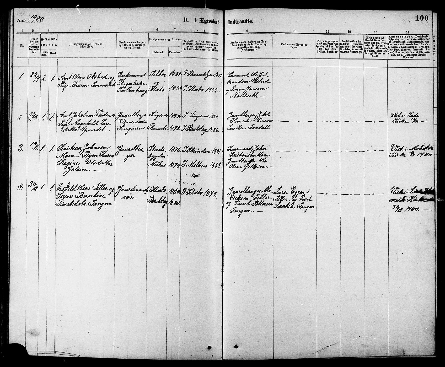 SAT, Ministerialprotokoller, klokkerbøker og fødselsregistre - Sør-Trøndelag, 608/L0341: Klokkerbok nr. 608C07, 1890-1912, s. 100