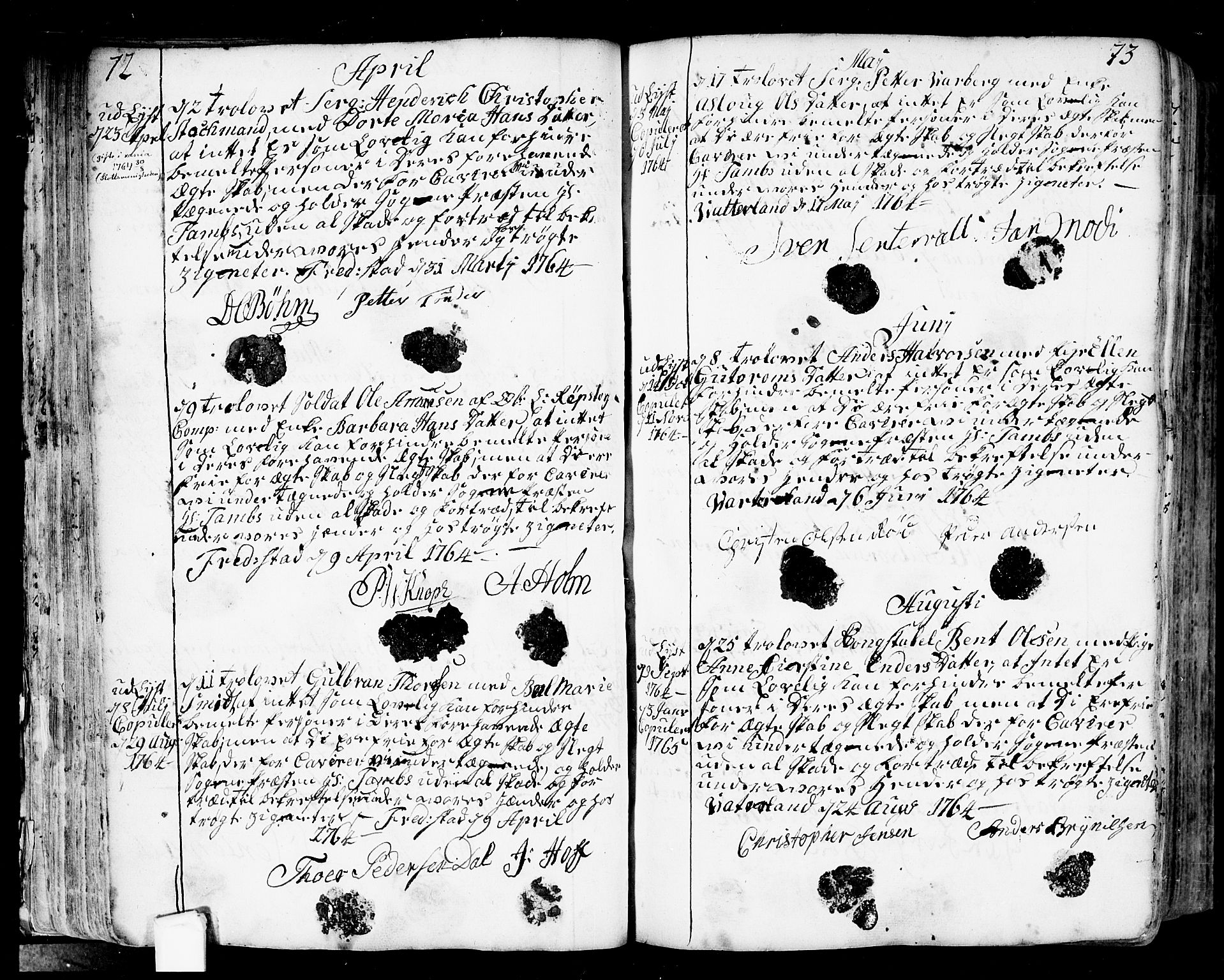 SAO, Fredrikstad prestekontor Kirkebøker, F/Fa/L0002: Ministerialbok nr. 2, 1750-1804, s. 72-73