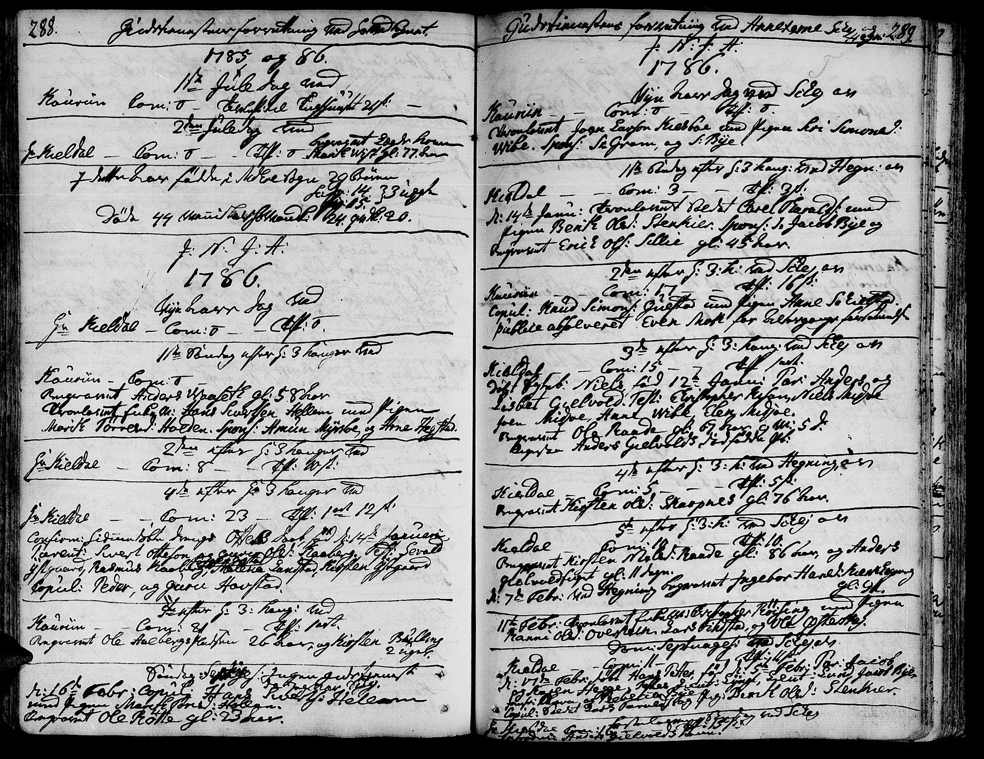 SAT, Ministerialprotokoller, klokkerbøker og fødselsregistre - Nord-Trøndelag, 735/L0331: Ministerialbok nr. 735A02, 1762-1794, s. 288-289
