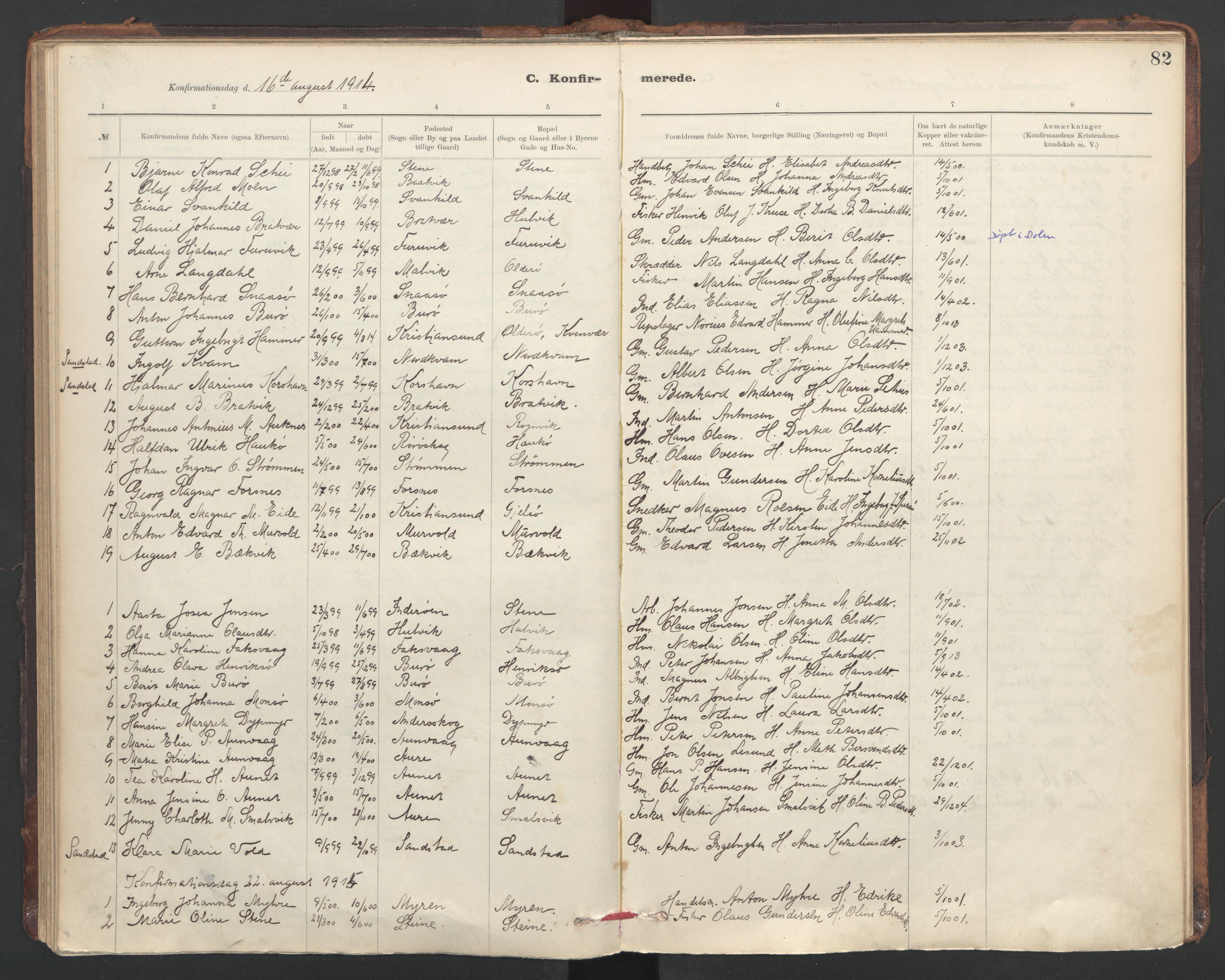 SAT, Ministerialprotokoller, klokkerbøker og fødselsregistre - Sør-Trøndelag, 635/L0552: Ministerialbok nr. 635A02, 1899-1919, s. 82