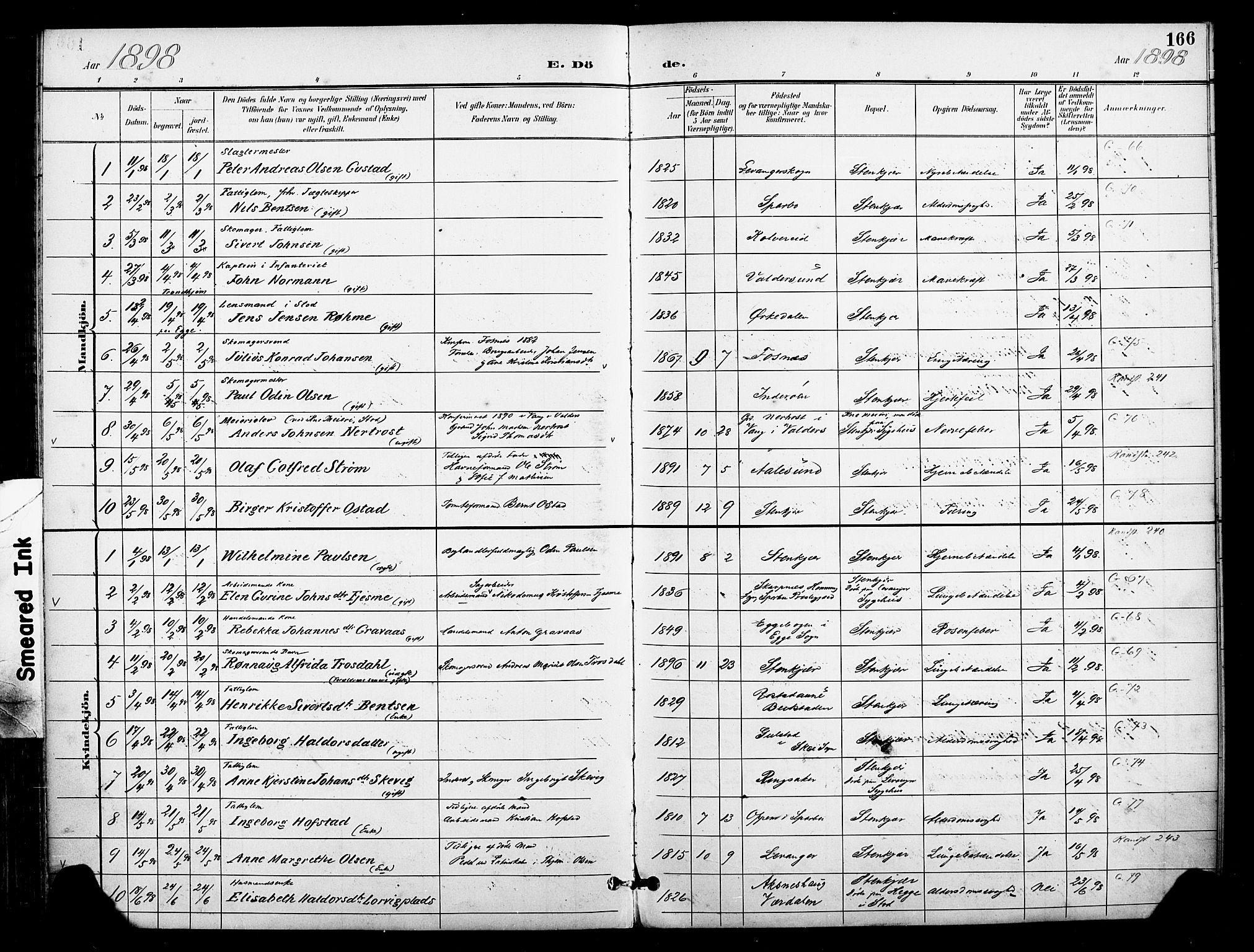 SAT, Ministerialprotokoller, klokkerbøker og fødselsregistre - Nord-Trøndelag, 739/L0372: Ministerialbok nr. 739A04, 1895-1903, s. 166