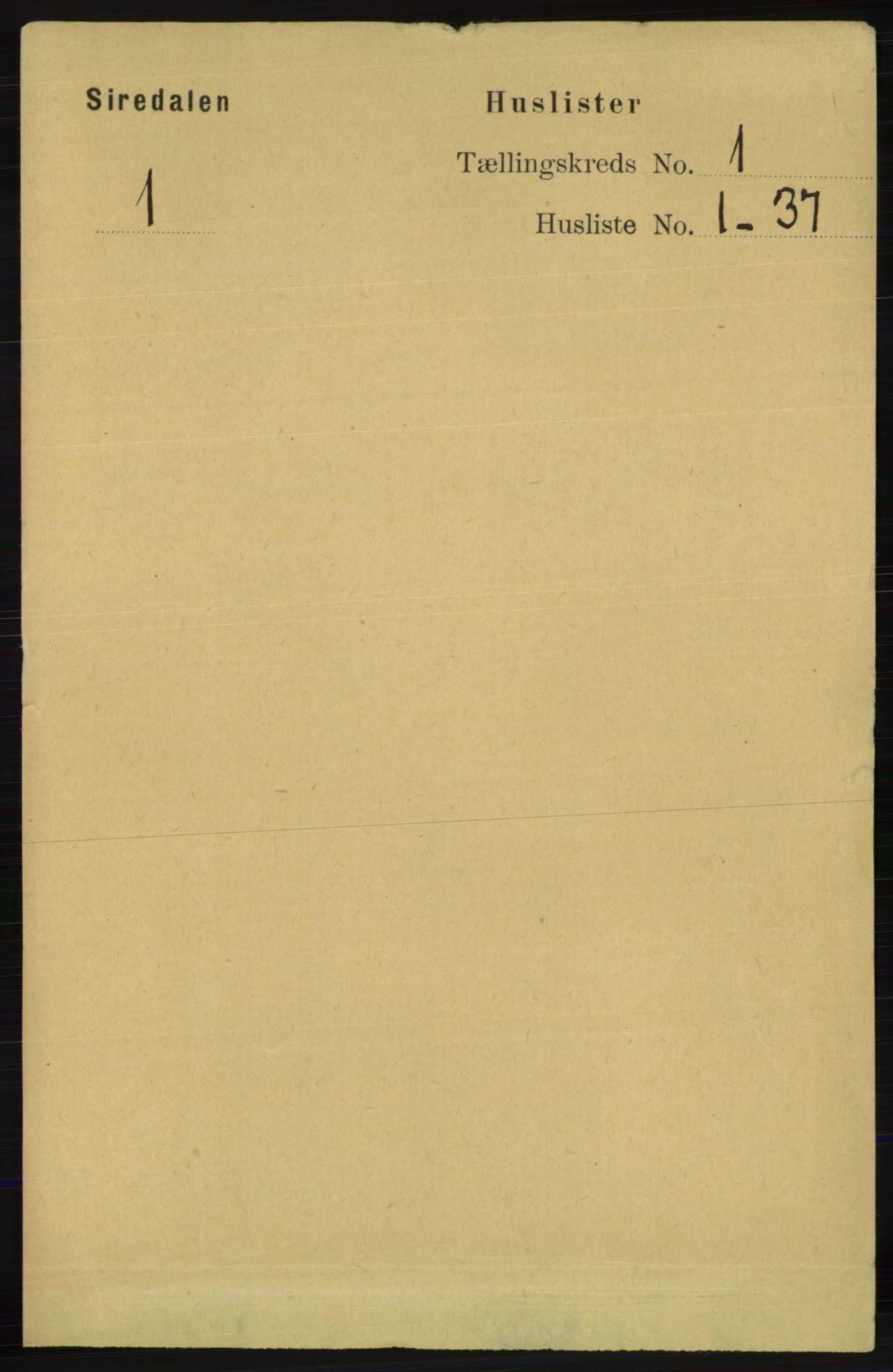 RA, Folketelling 1891 for 1046 Sirdal herred, 1891, s. 21