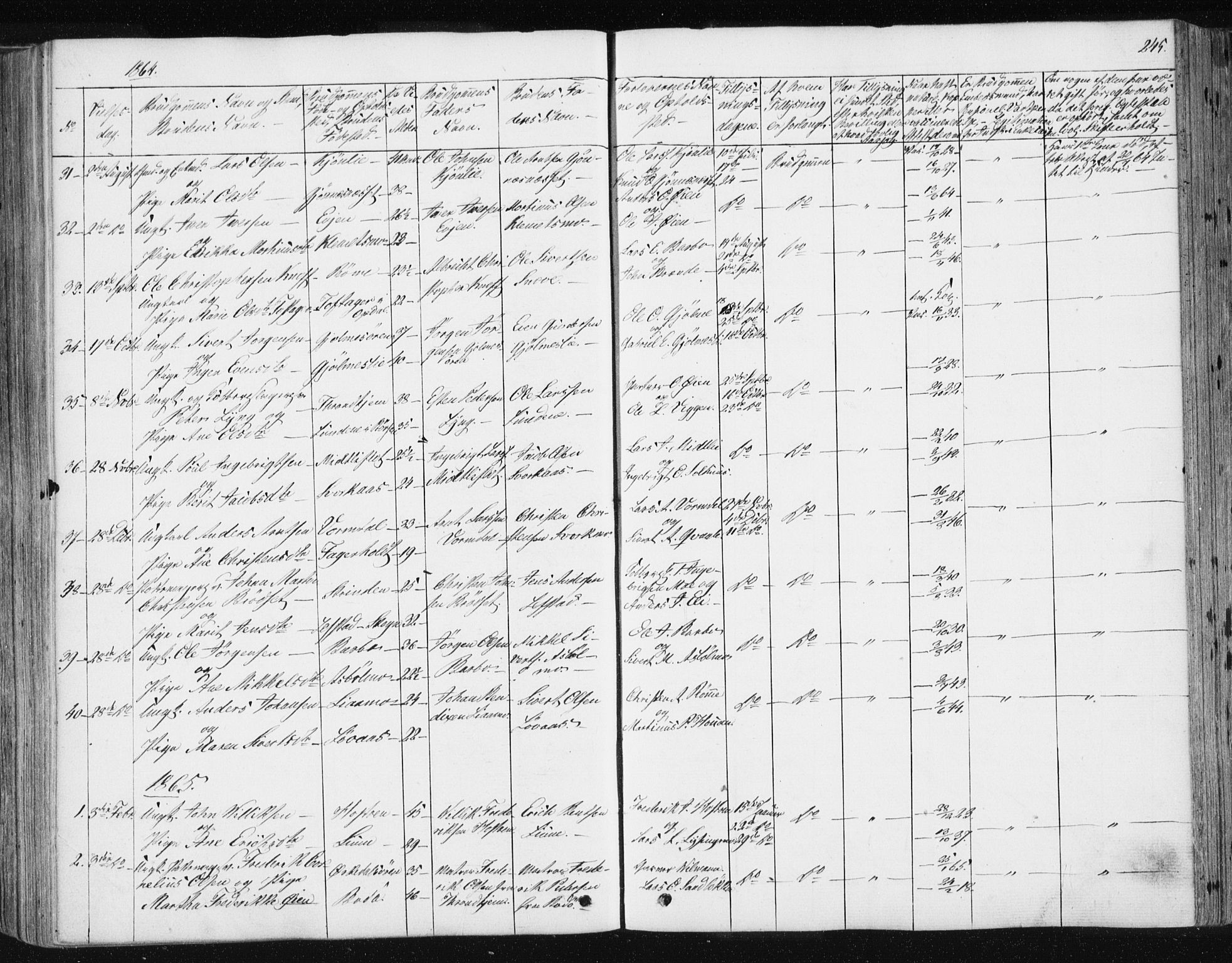 SAT, Ministerialprotokoller, klokkerbøker og fødselsregistre - Sør-Trøndelag, 668/L0806: Ministerialbok nr. 668A06, 1854-1869, s. 245