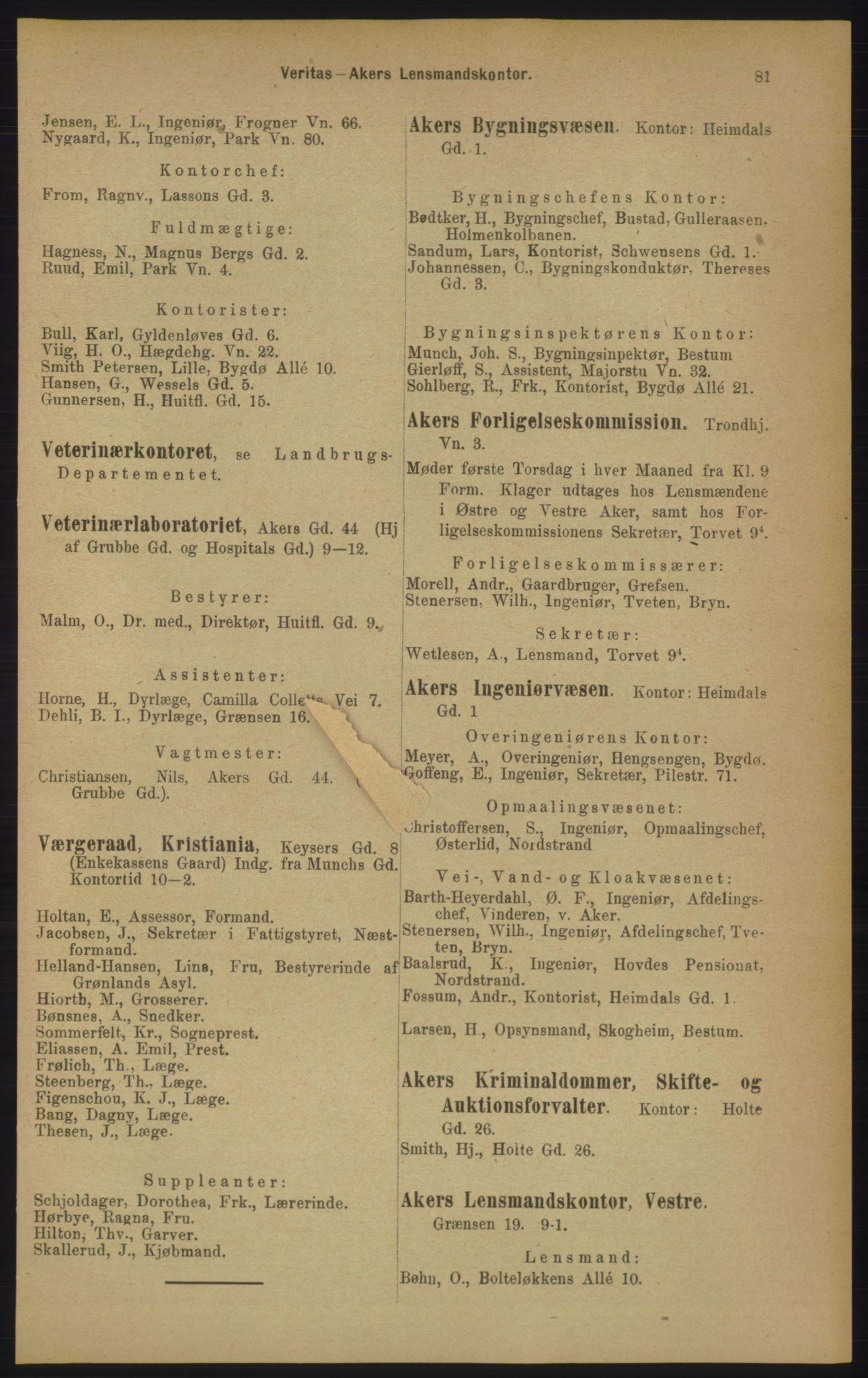 PUBL, Kristiania/Oslo adressebok, 1906, s. 81