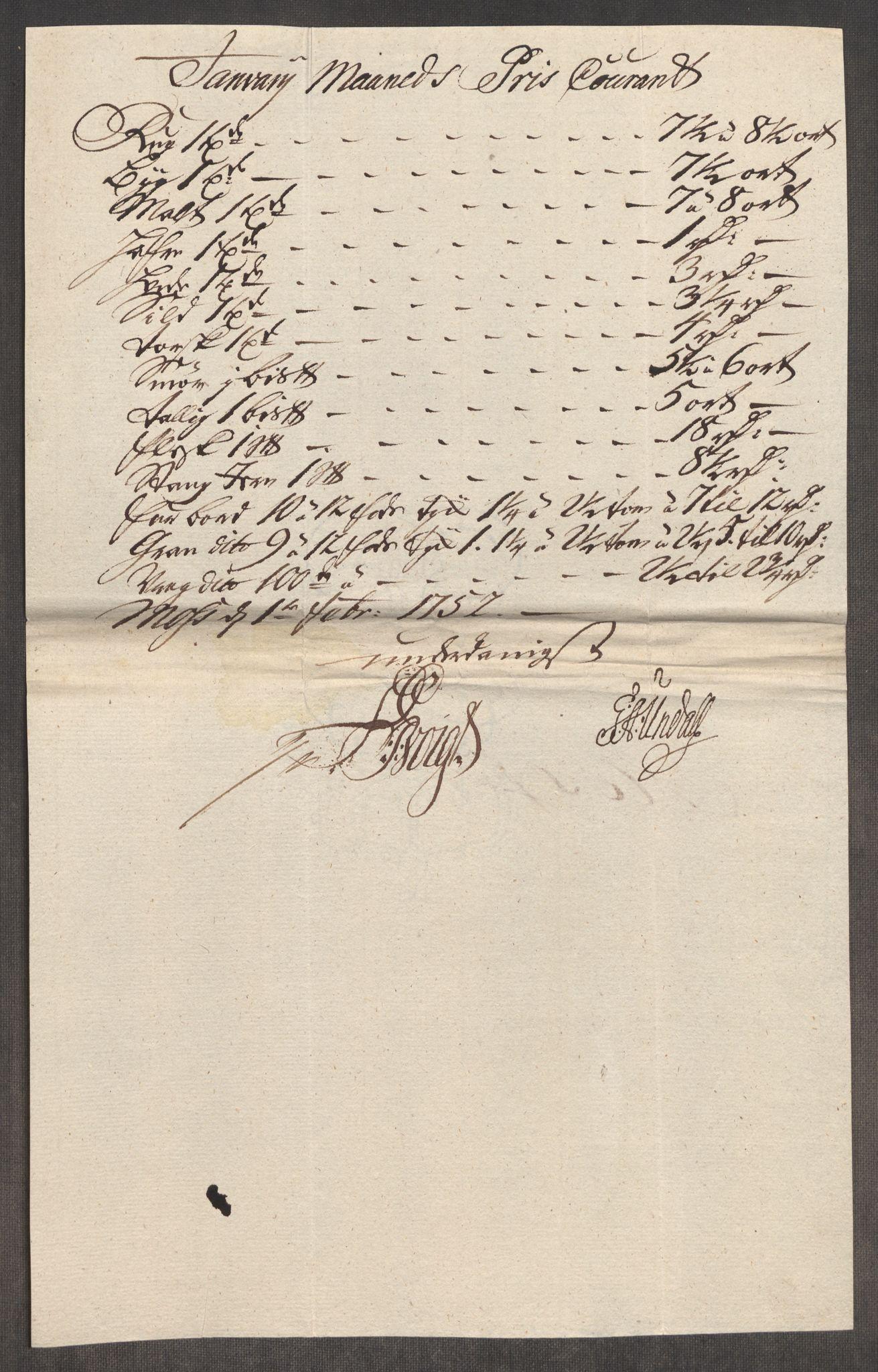 RA, Rentekammeret inntil 1814, Realistisk ordnet avdeling, Oe/L0004: [Ø1]: Priskuranter, 1749-1752, s. 781