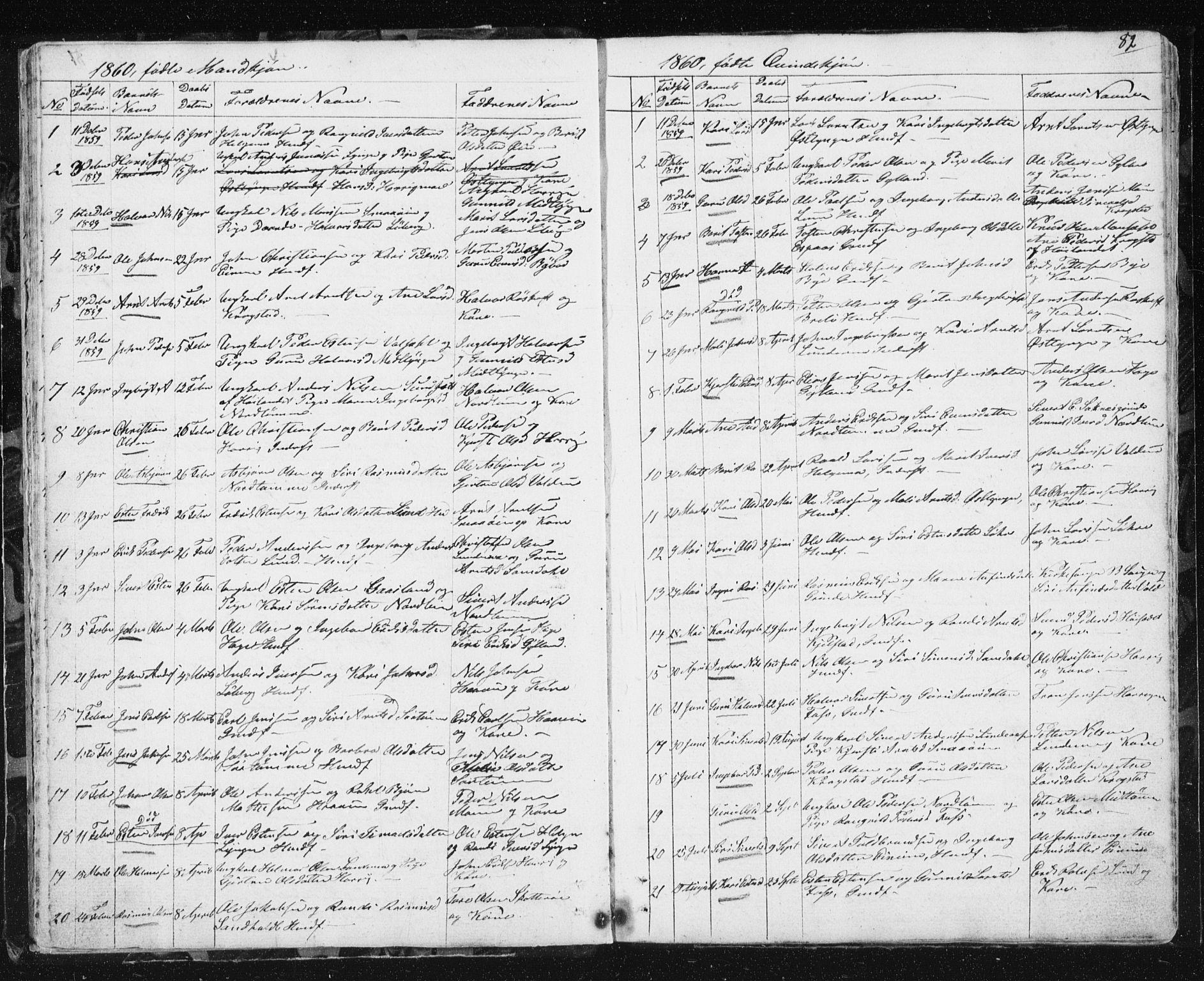 SAT, Ministerialprotokoller, klokkerbøker og fødselsregistre - Sør-Trøndelag, 692/L1110: Klokkerbok nr. 692C05, 1849-1889, s. 82