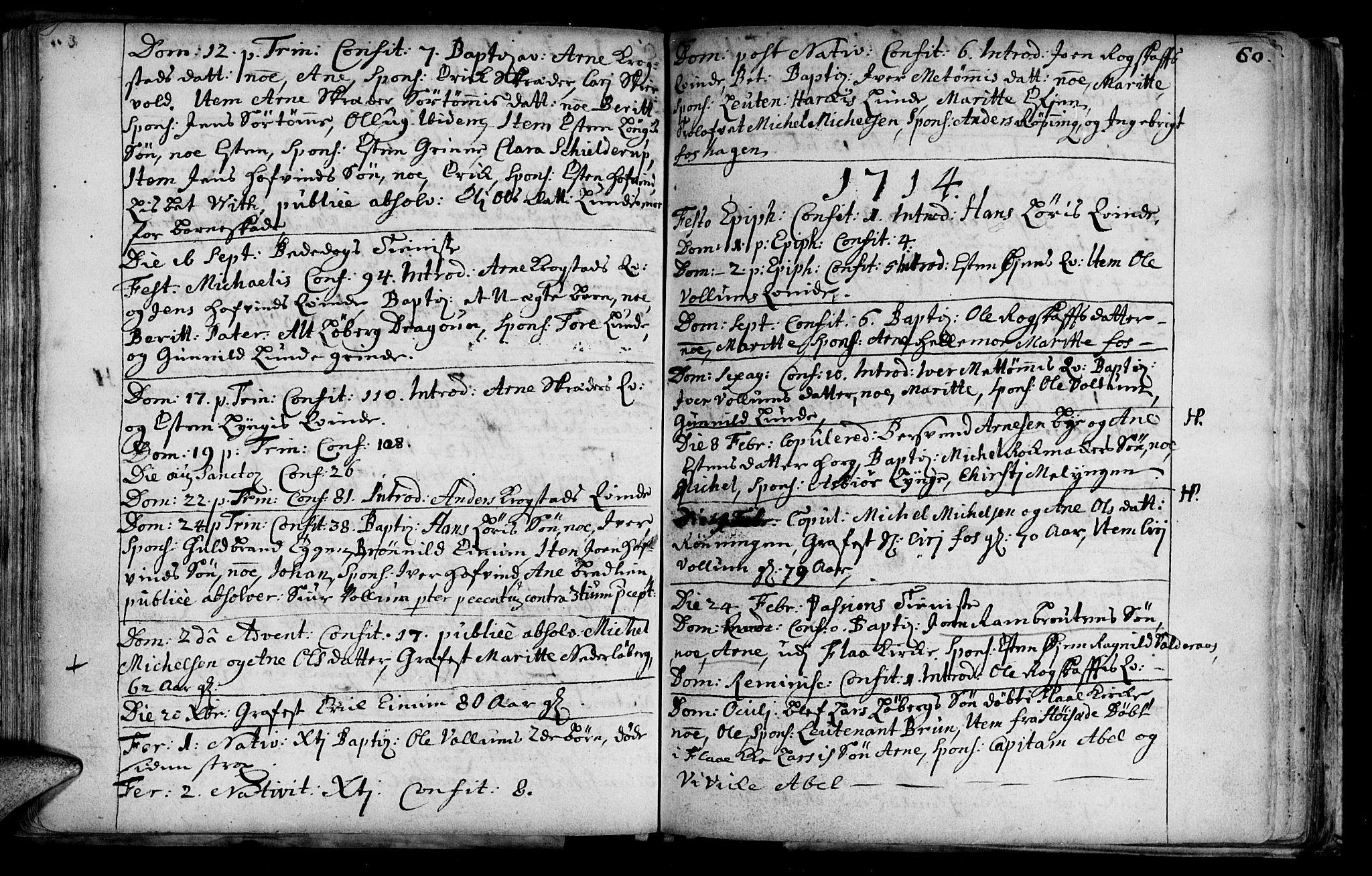 SAT, Ministerialprotokoller, klokkerbøker og fødselsregistre - Sør-Trøndelag, 692/L1101: Ministerialbok nr. 692A01, 1690-1746, s. 60