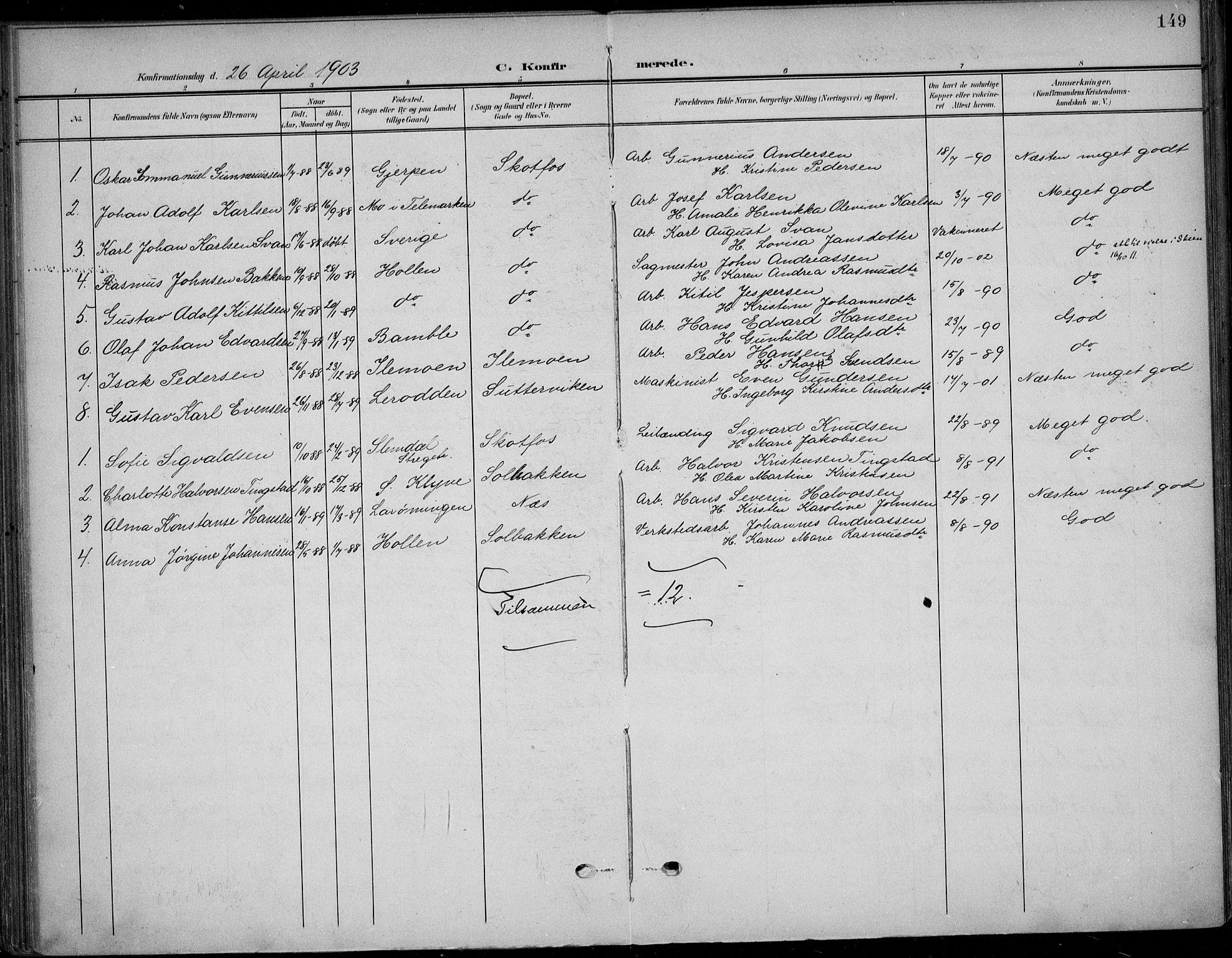SAKO, Solum kirkebøker, F/Fb/L0003: Ministerialbok nr. II 3, 1901-1912, s. 149