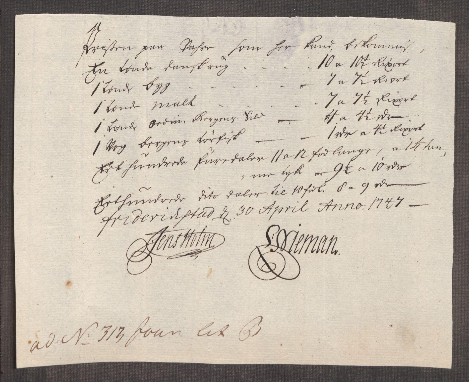 RA, Rentekammeret inntil 1814, Realistisk ordnet avdeling, Oe/L0003: [Ø1]: Priskuranter, 1745-1748, s. 471