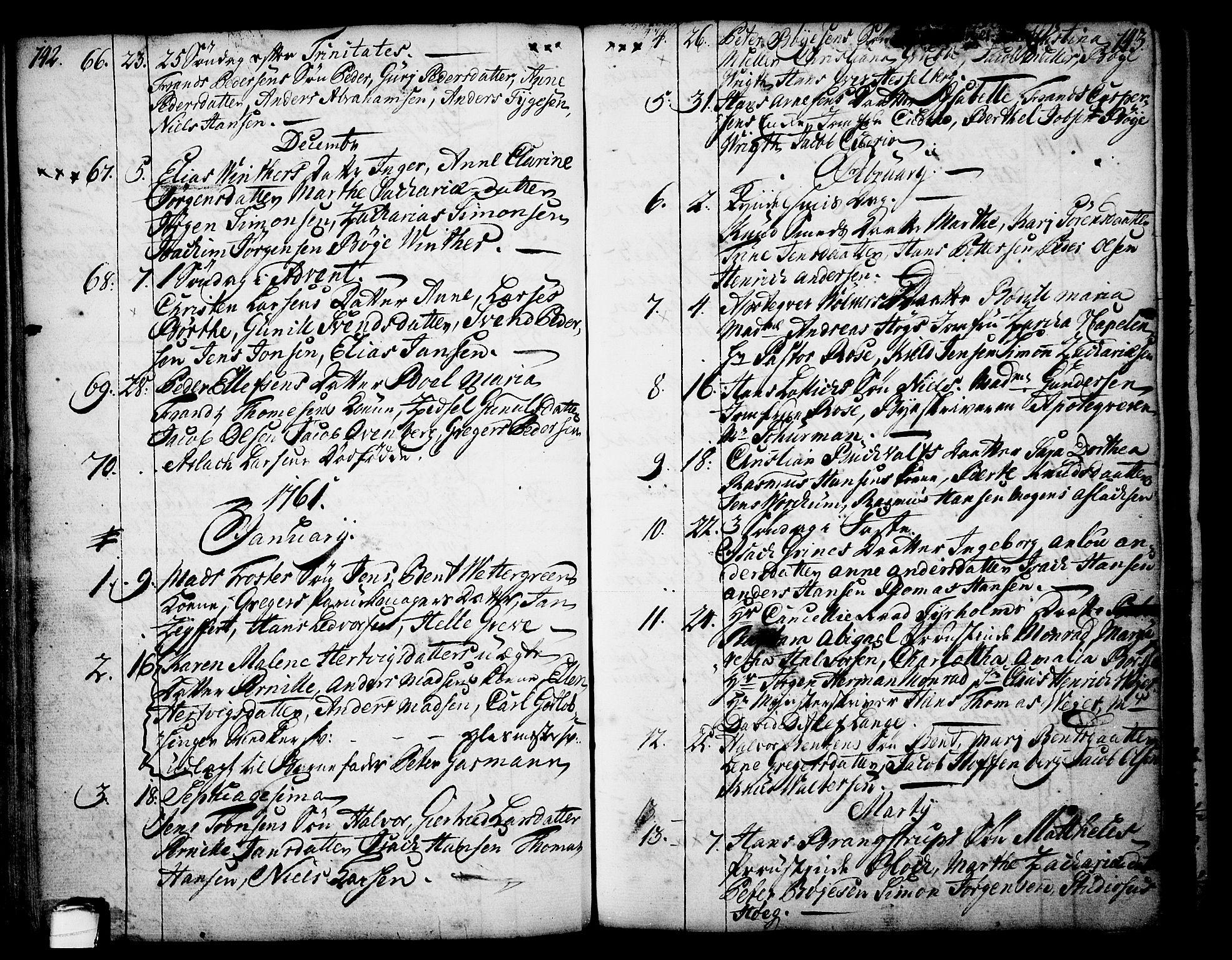 SAKO, Skien kirkebøker, F/Fa/L0003: Ministerialbok nr. 3, 1755-1791, s. 142-143