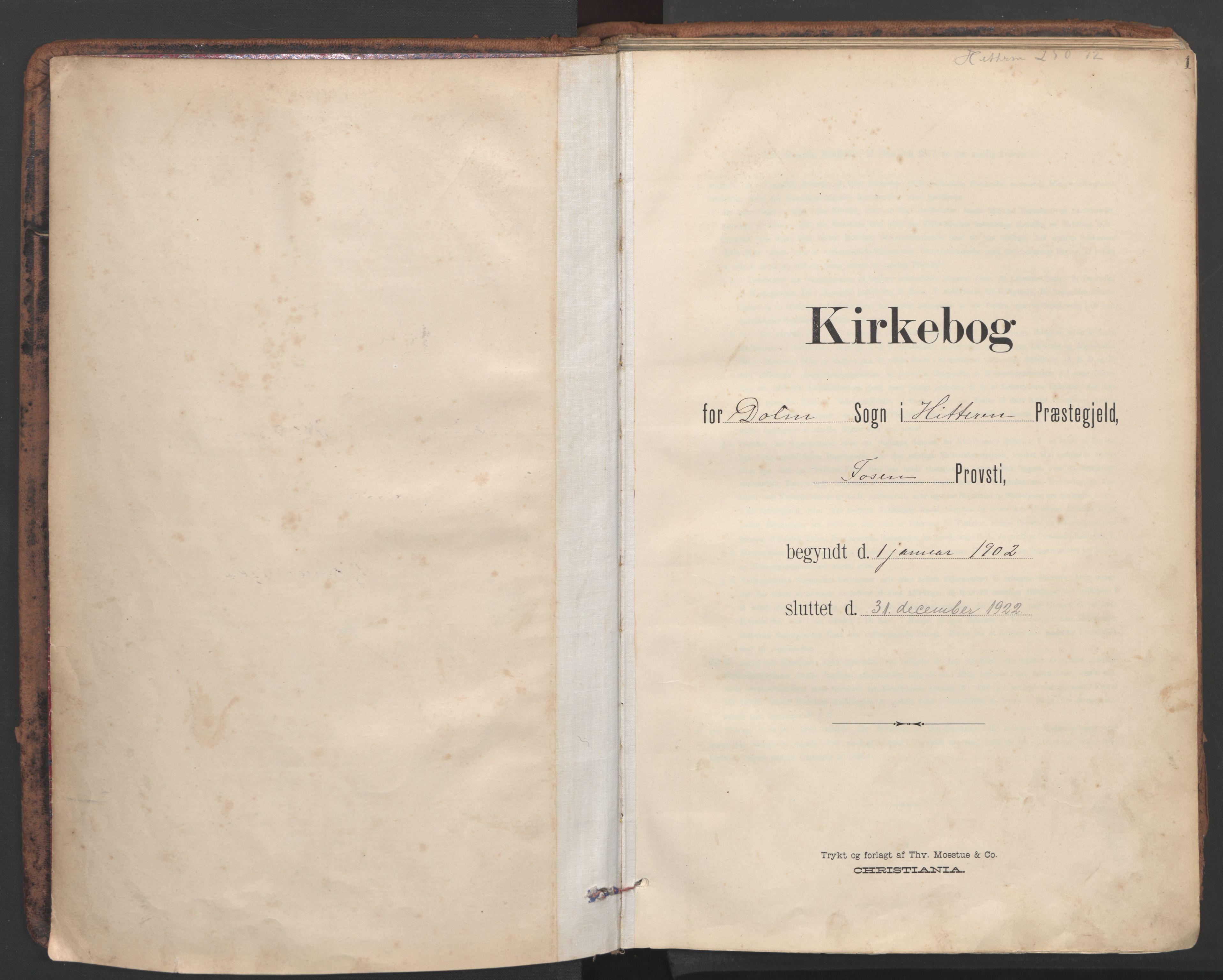 SAT, Ministerialprotokoller, klokkerbøker og fødselsregistre - Sør-Trøndelag, 634/L0537: Ministerialbok nr. 634A13, 1896-1922, s. 1