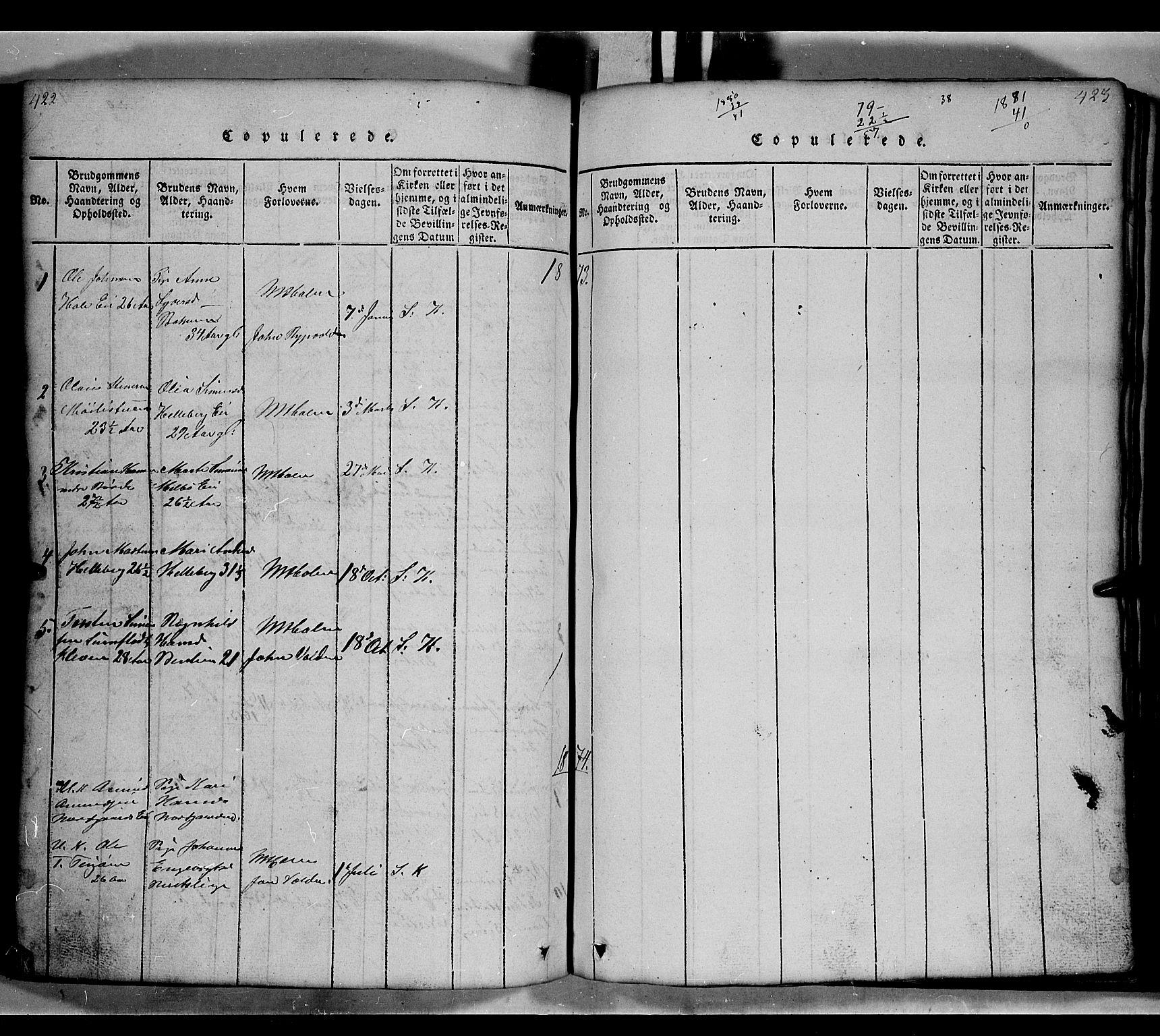 SAH, Gausdal prestekontor, Klokkerbok nr. 2, 1818-1874, s. 422-423