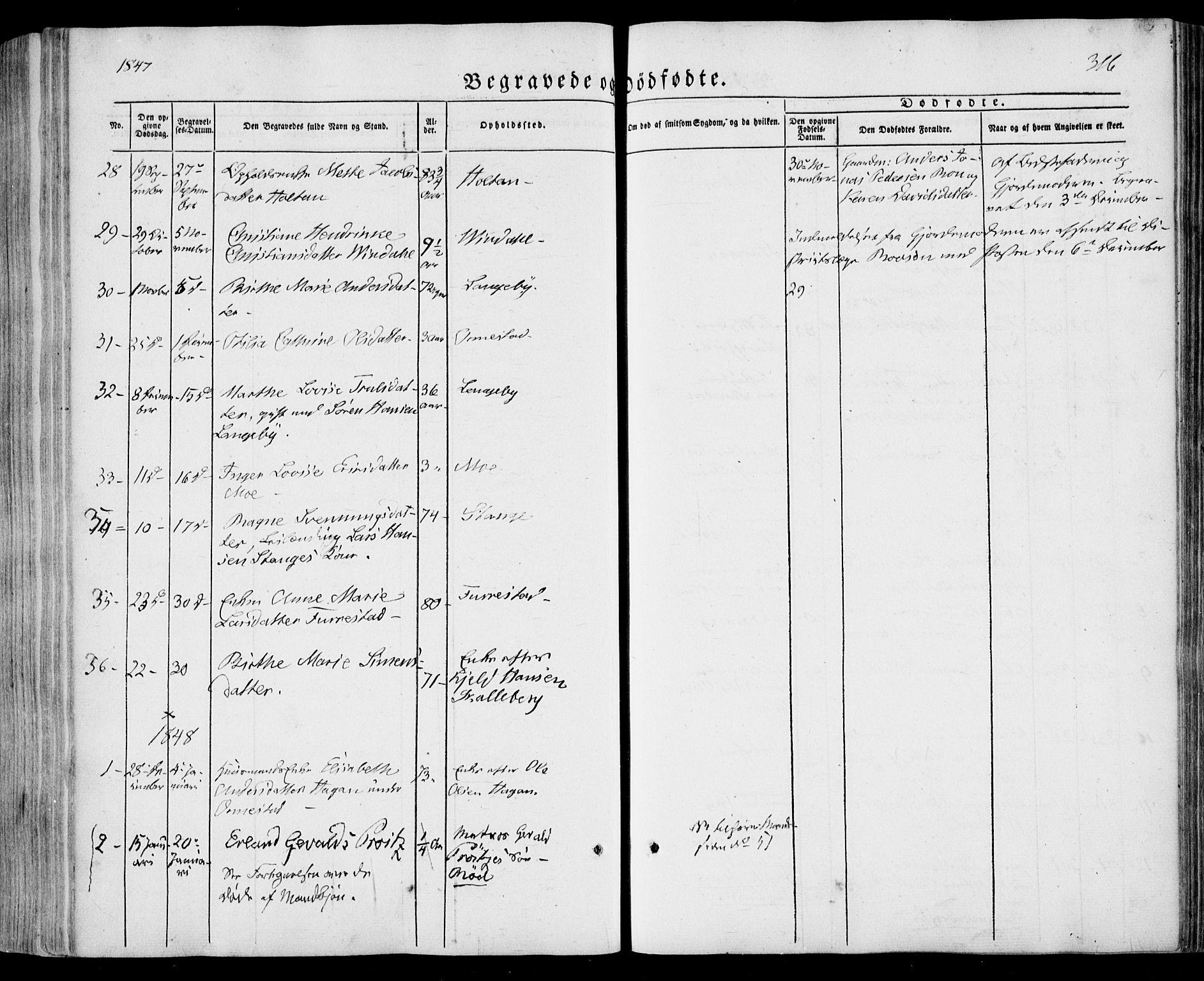 SAKO, Sandar kirkebøker, F/Fa/L0006: Ministerialbok nr. 6, 1847-1860, s. 316