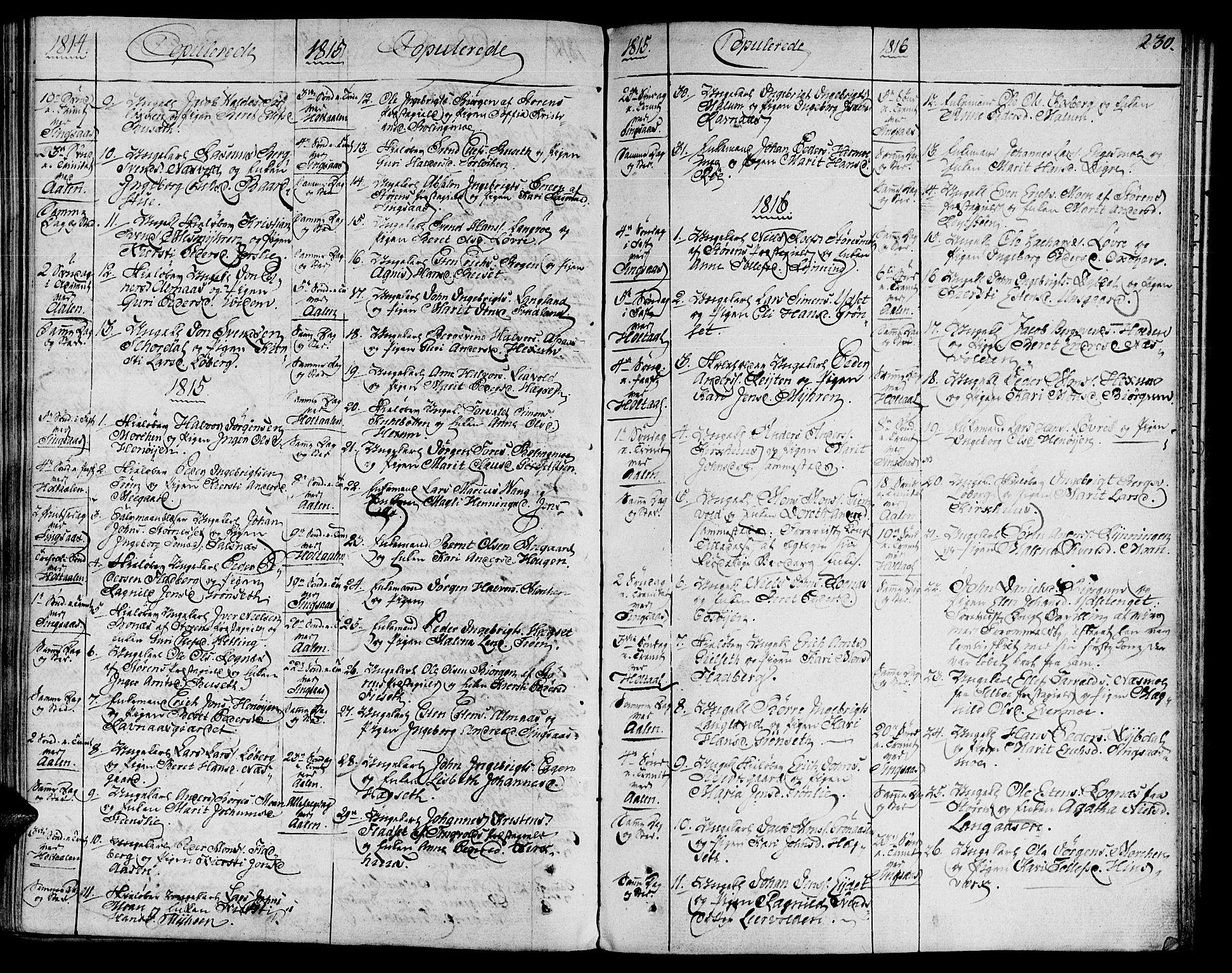 SAT, Ministerialprotokoller, klokkerbøker og fødselsregistre - Sør-Trøndelag, 685/L0953: Ministerialbok nr. 685A02, 1805-1816, s. 230