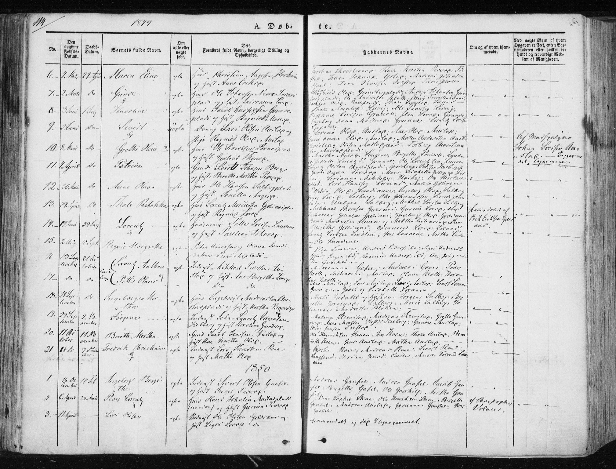 SAT, Ministerialprotokoller, klokkerbøker og fødselsregistre - Nord-Trøndelag, 730/L0280: Ministerialbok nr. 730A07 /2, 1840-1854, s. 114