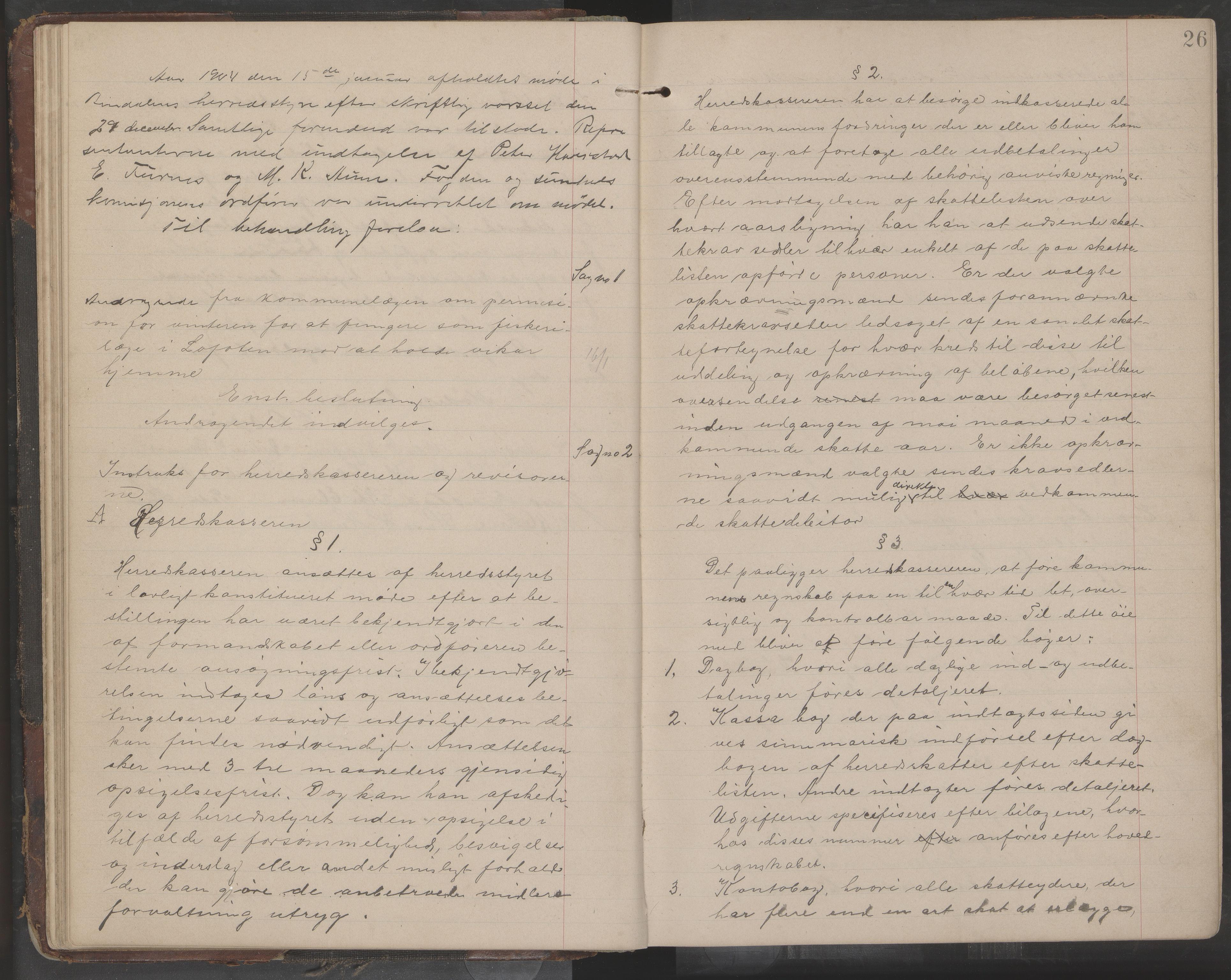 AIN, Bindal kommune. Formannskapet, A/Aa/L0000e: Møtebok, 1903-1914, s. 26