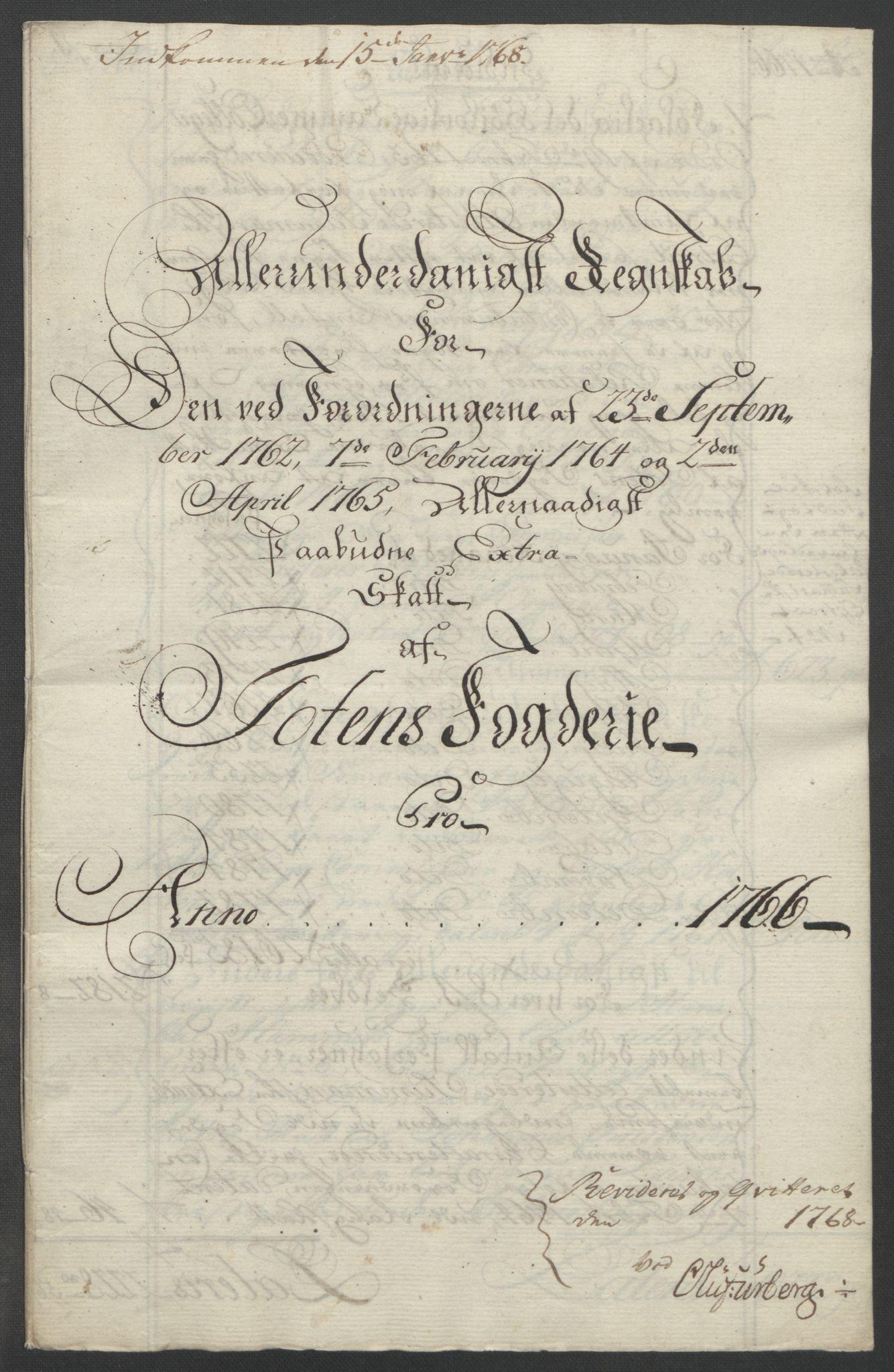 RA, Rentekammeret inntil 1814, Reviderte regnskaper, Fogderegnskap, R19/L1399: Fogderegnskap Toten, Hadeland og Vardal, 1762-1783, s. 108
