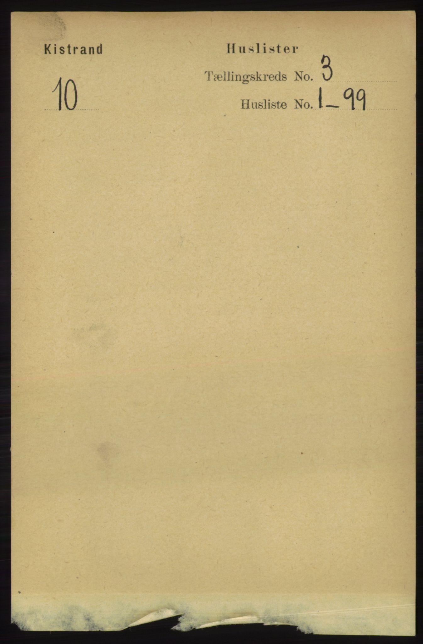 RA, Folketelling 1891 for 2020 Kistrand herred, 1891, s. 1169