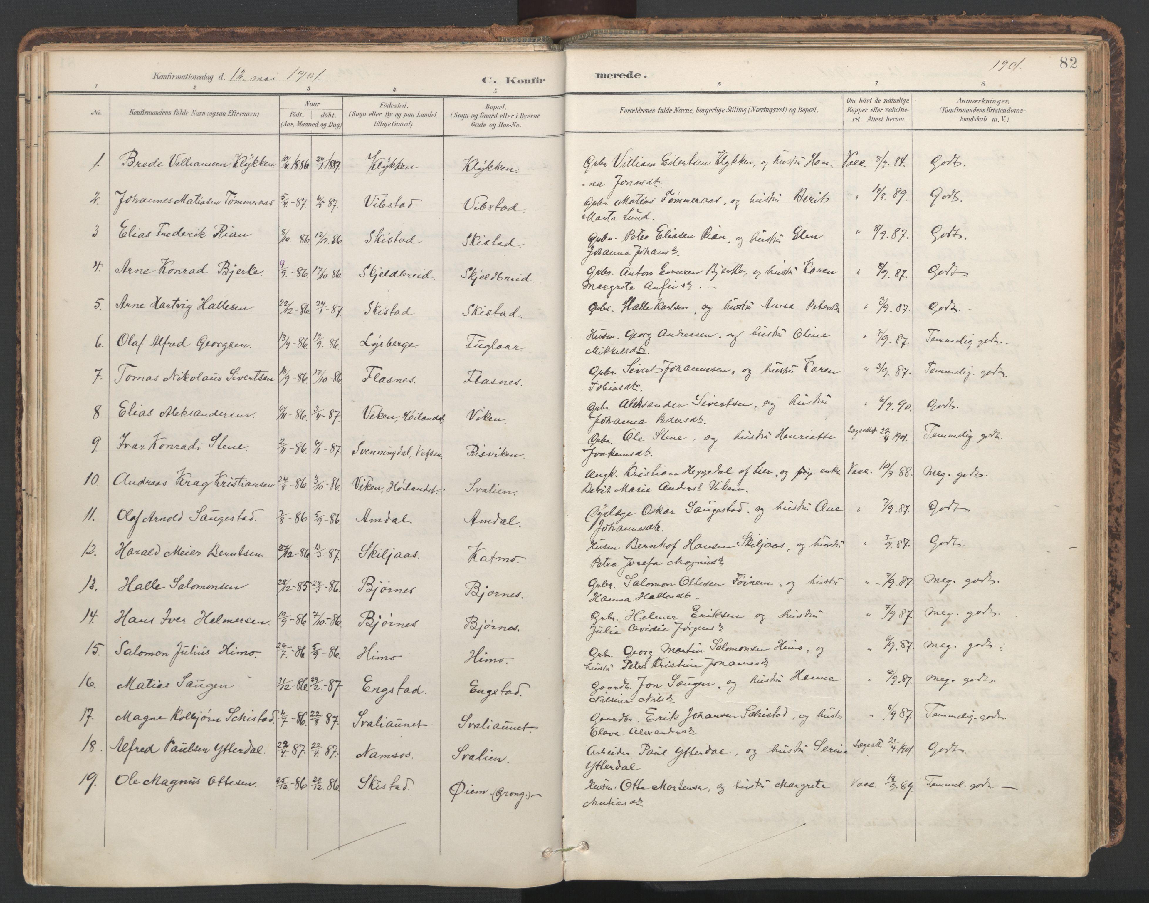 SAT, Ministerialprotokoller, klokkerbøker og fødselsregistre - Nord-Trøndelag, 764/L0556: Ministerialbok nr. 764A11, 1897-1924, s. 82