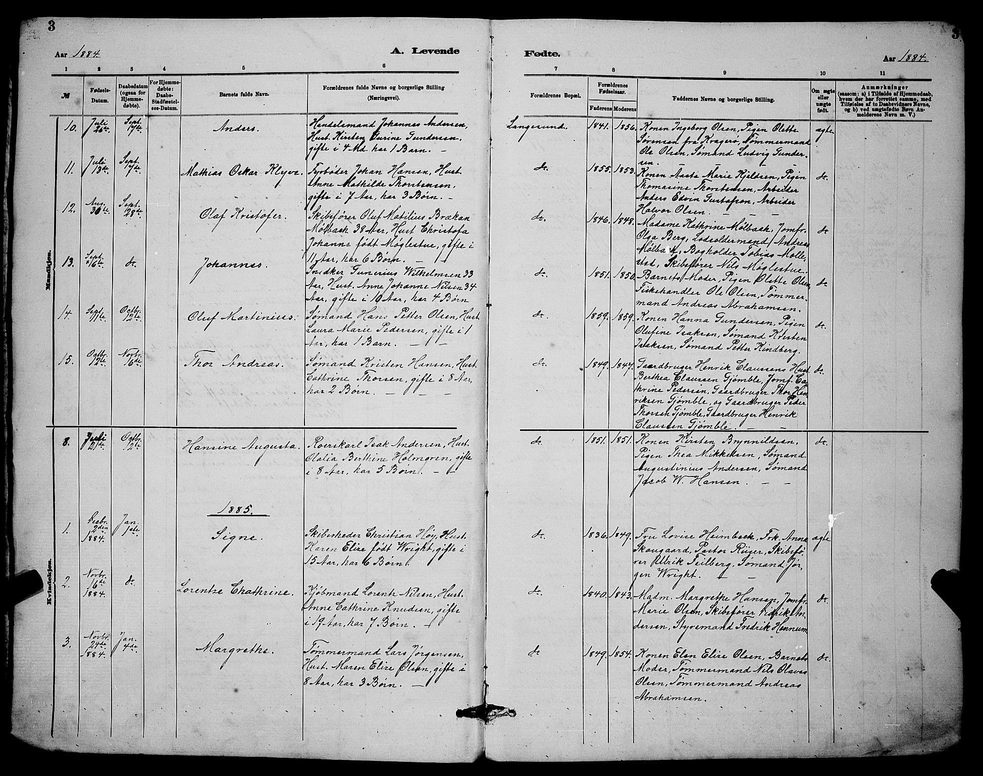 SAKO, Langesund kirkebøker, G/Ga/L0005: Klokkerbok nr. 5, 1884-1898, s. 3