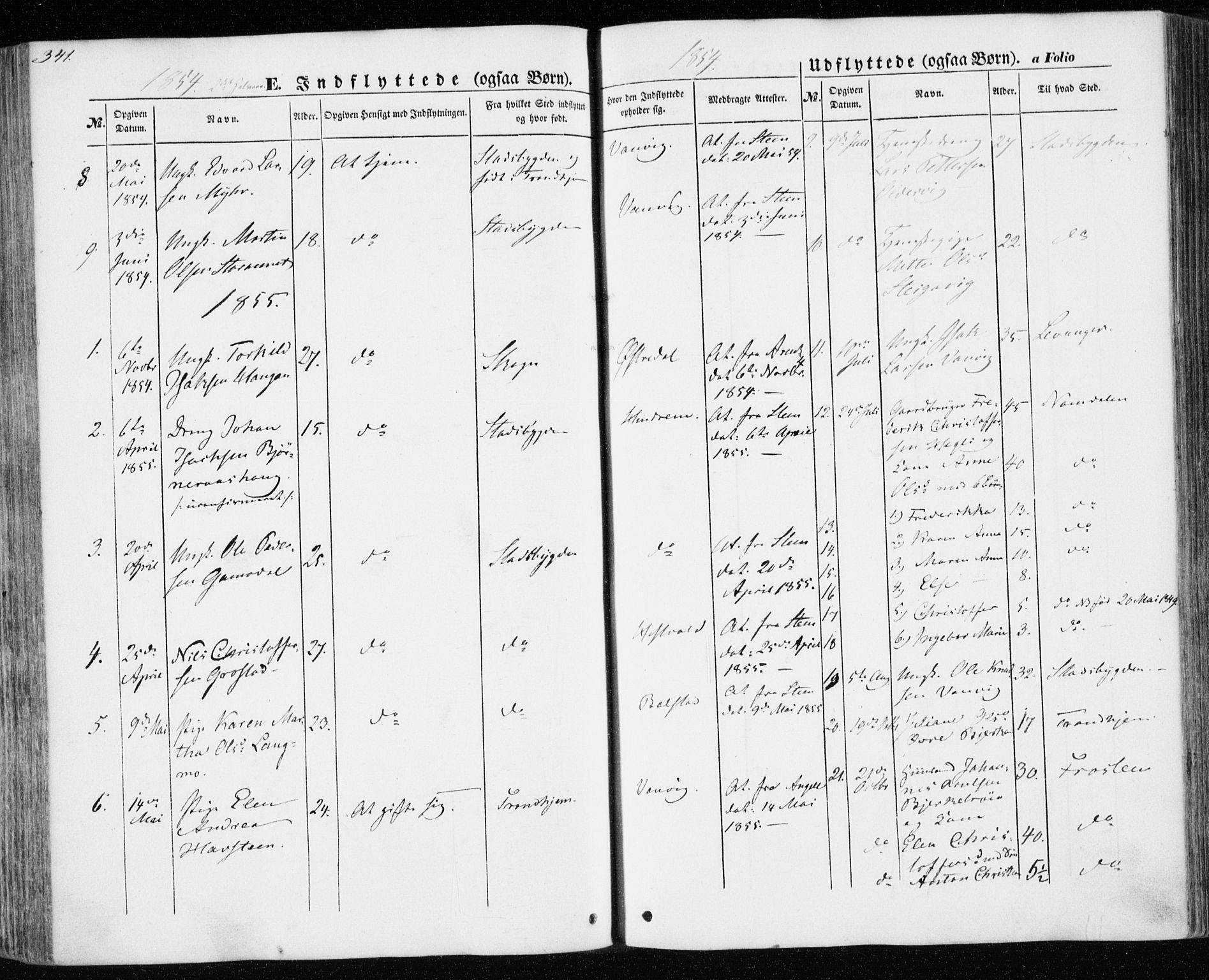 SAT, Ministerialprotokoller, klokkerbøker og fødselsregistre - Nord-Trøndelag, 701/L0008: Ministerialbok nr. 701A08 /1, 1854-1863, s. 341