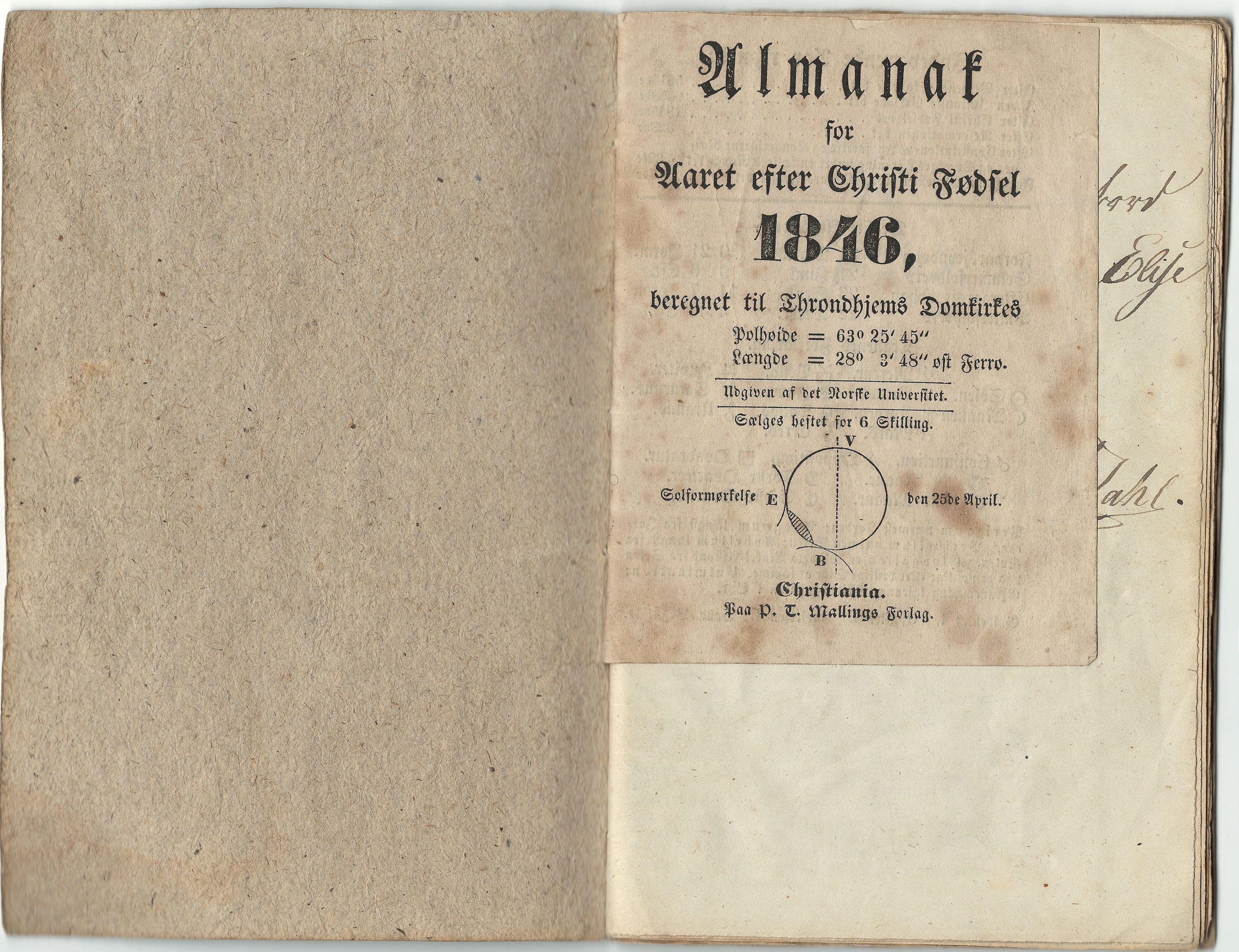HEMUD, Nordvika gamle handelssted, : Journal ført om bord i jekten Kathrine Elise 1846, 1846