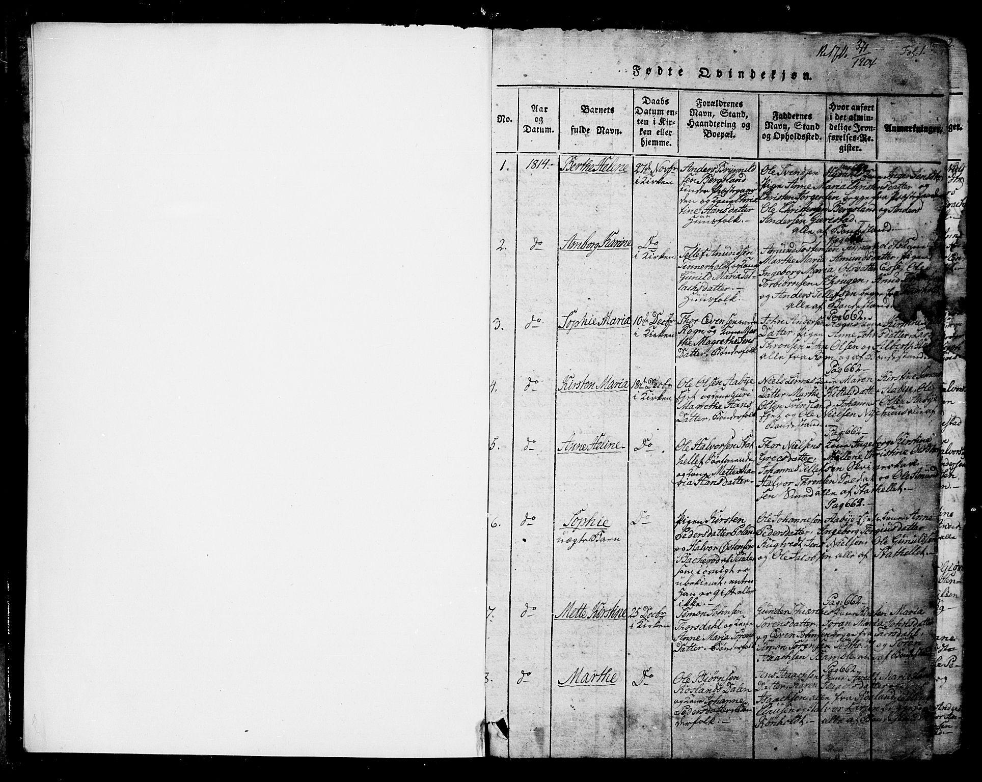 SAKO, Bamble kirkebøker, G/Ga/L0005: Klokkerbok nr. I 5, 1814-1855, s. 1