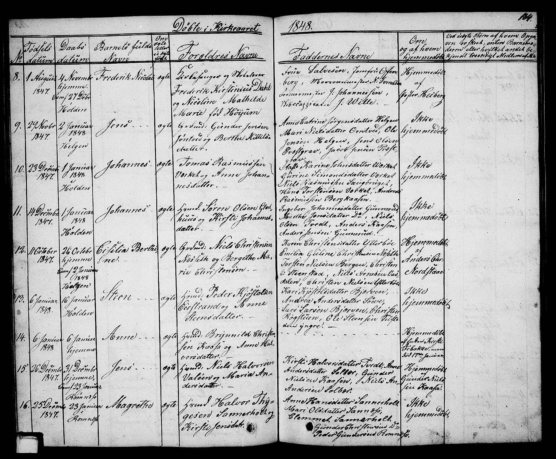 SAKO, Holla kirkebøker, G/Ga/L0002: Klokkerbok nr. I 2, 1830-1848, s. 184
