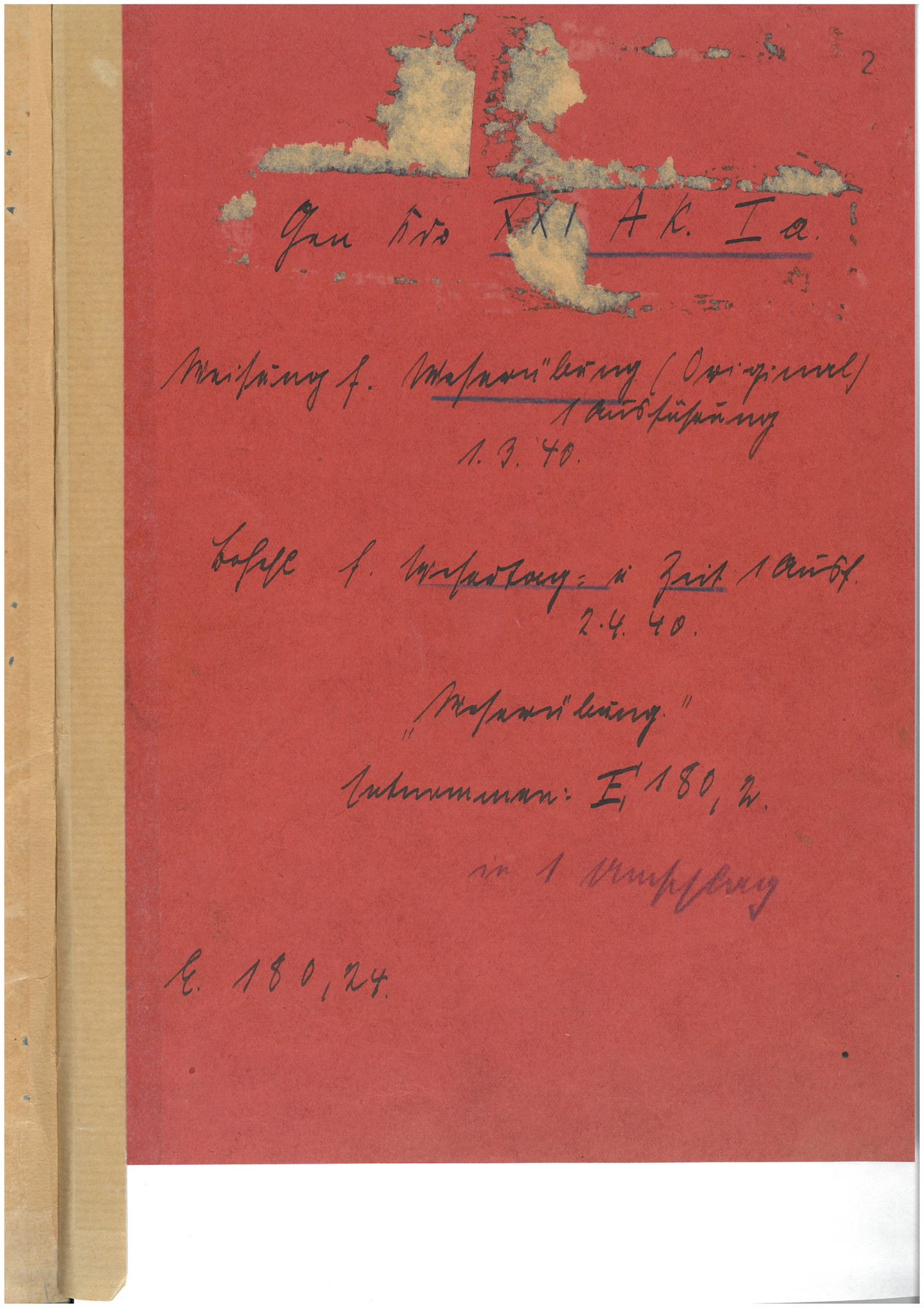 "BARCH, RH 24-21 (XXI. Armeekorps / XXI. Gebirgs-Armeekorps), /23: Weisung für ""Fall Weserübung"", 1940, s. 2"
