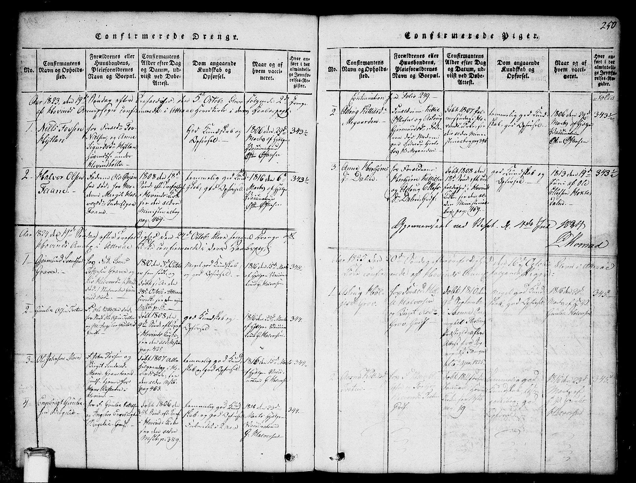 SAKO, Gransherad kirkebøker, G/Gb/L0001: Klokkerbok nr. II 1, 1815-1860, s. 250