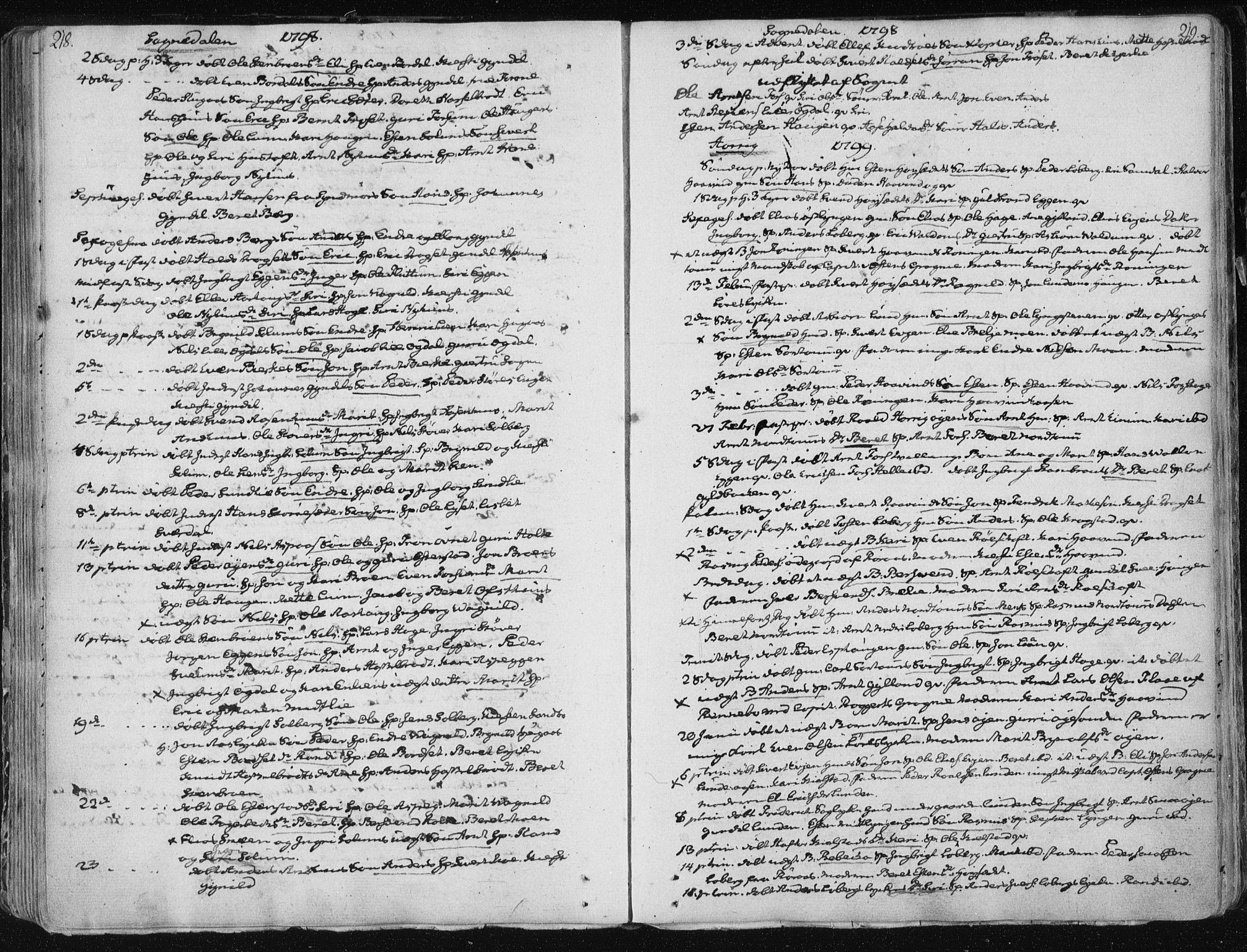 SAT, Ministerialprotokoller, klokkerbøker og fødselsregistre - Sør-Trøndelag, 687/L0992: Ministerialbok nr. 687A03 /1, 1788-1815, s. 218-219