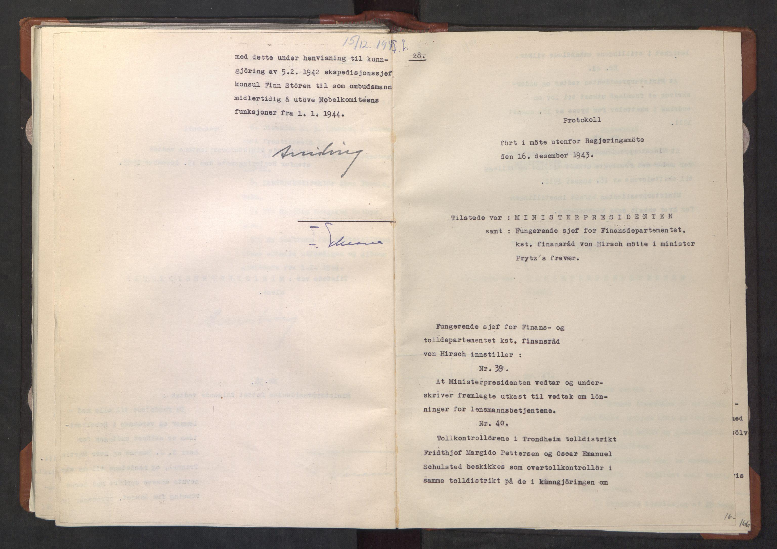 RA, NS-administrasjonen 1940-1945 (Statsrådsekretariatet, de kommisariske statsråder mm), D/Da/L0003: Vedtak (Beslutninger) nr. 1-746 og tillegg nr. 1-47 (RA. j.nr. 1394/1944, tilgangsnr. 8/1944, 1943, s. 164b-165a