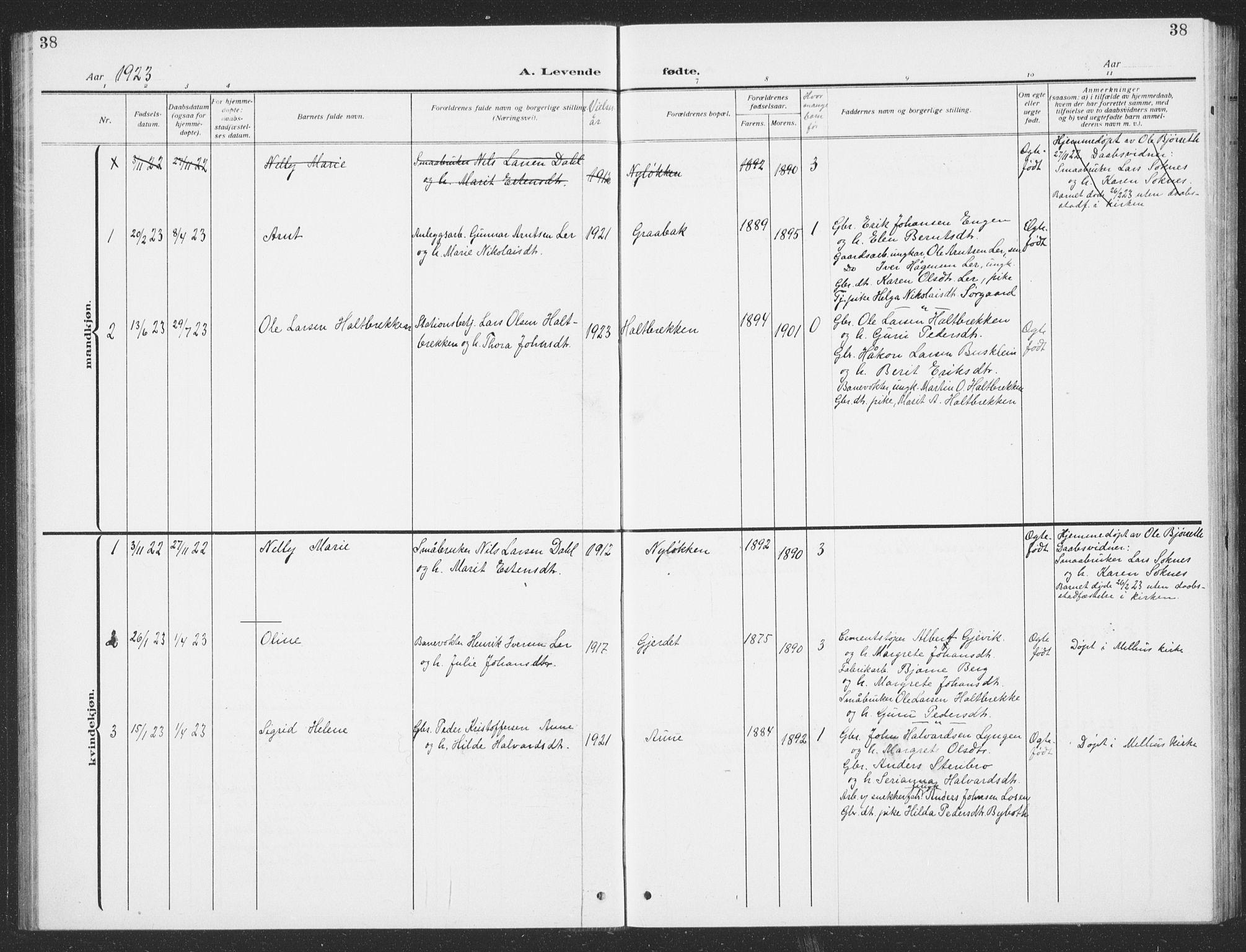 SAT, Ministerialprotokoller, klokkerbøker og fødselsregistre - Sør-Trøndelag, 693/L1124: Klokkerbok nr. 693C05, 1911-1941, s. 38