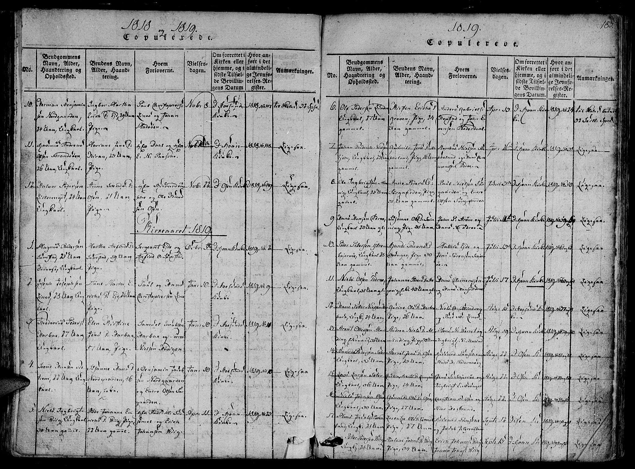 SAT, Ministerialprotokoller, klokkerbøker og fødselsregistre - Sør-Trøndelag, 657/L0702: Ministerialbok nr. 657A03, 1818-1831, s. 185