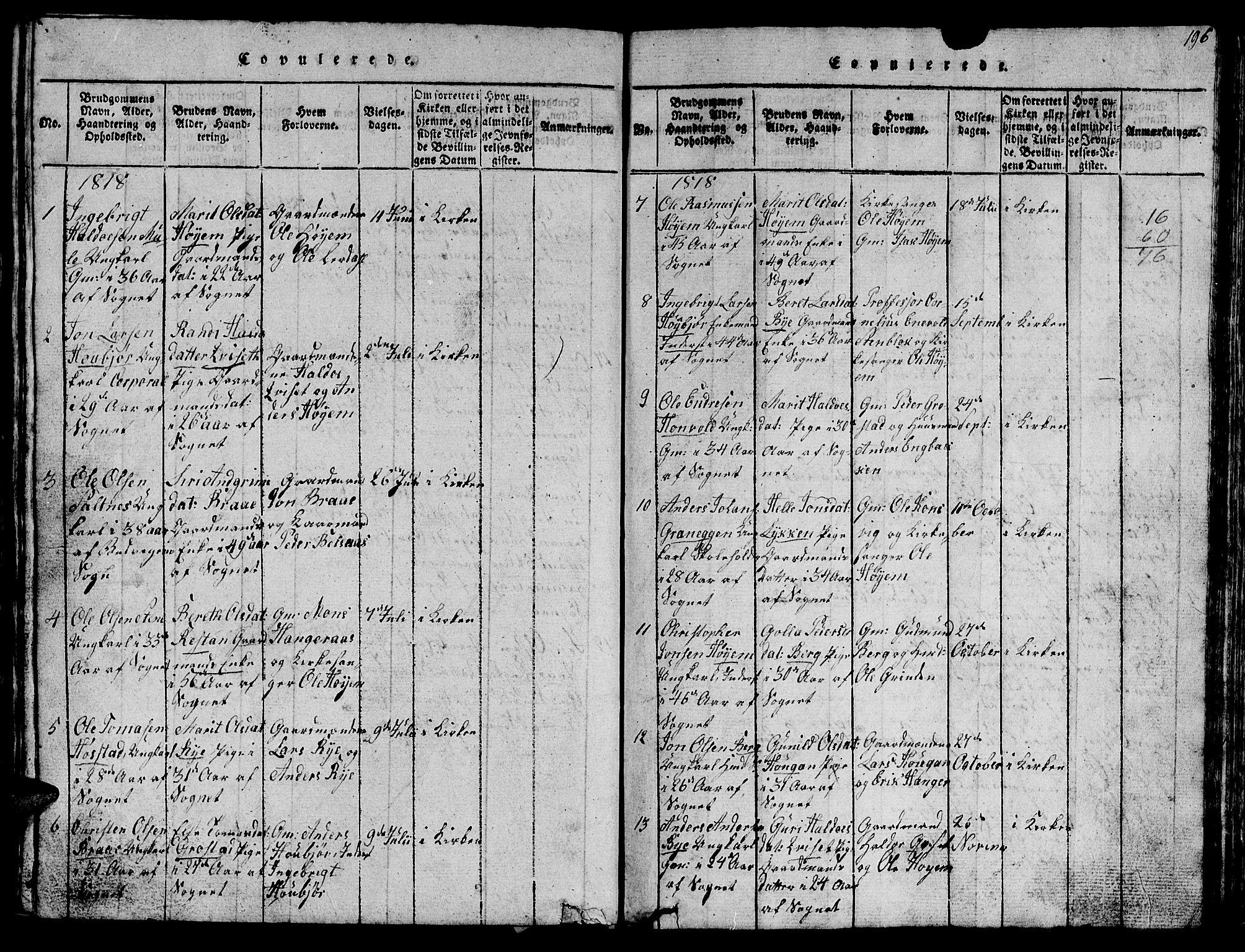 SAT, Ministerialprotokoller, klokkerbøker og fødselsregistre - Sør-Trøndelag, 612/L0385: Klokkerbok nr. 612C01, 1816-1845, s. 196