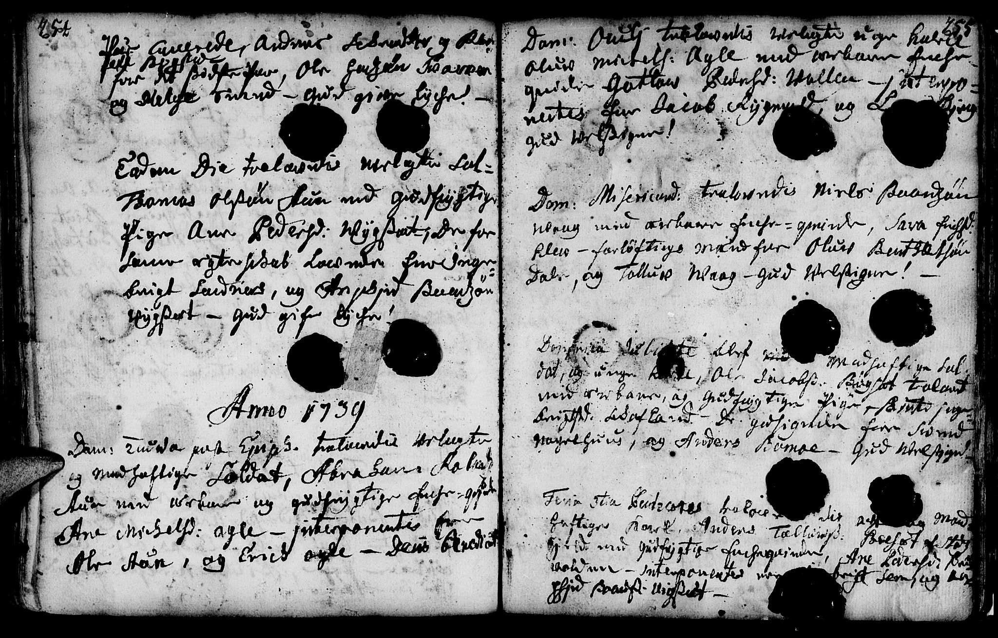 SAT, Ministerialprotokoller, klokkerbøker og fødselsregistre - Nord-Trøndelag, 749/L0467: Ministerialbok nr. 749A01, 1733-1787, s. 254-255