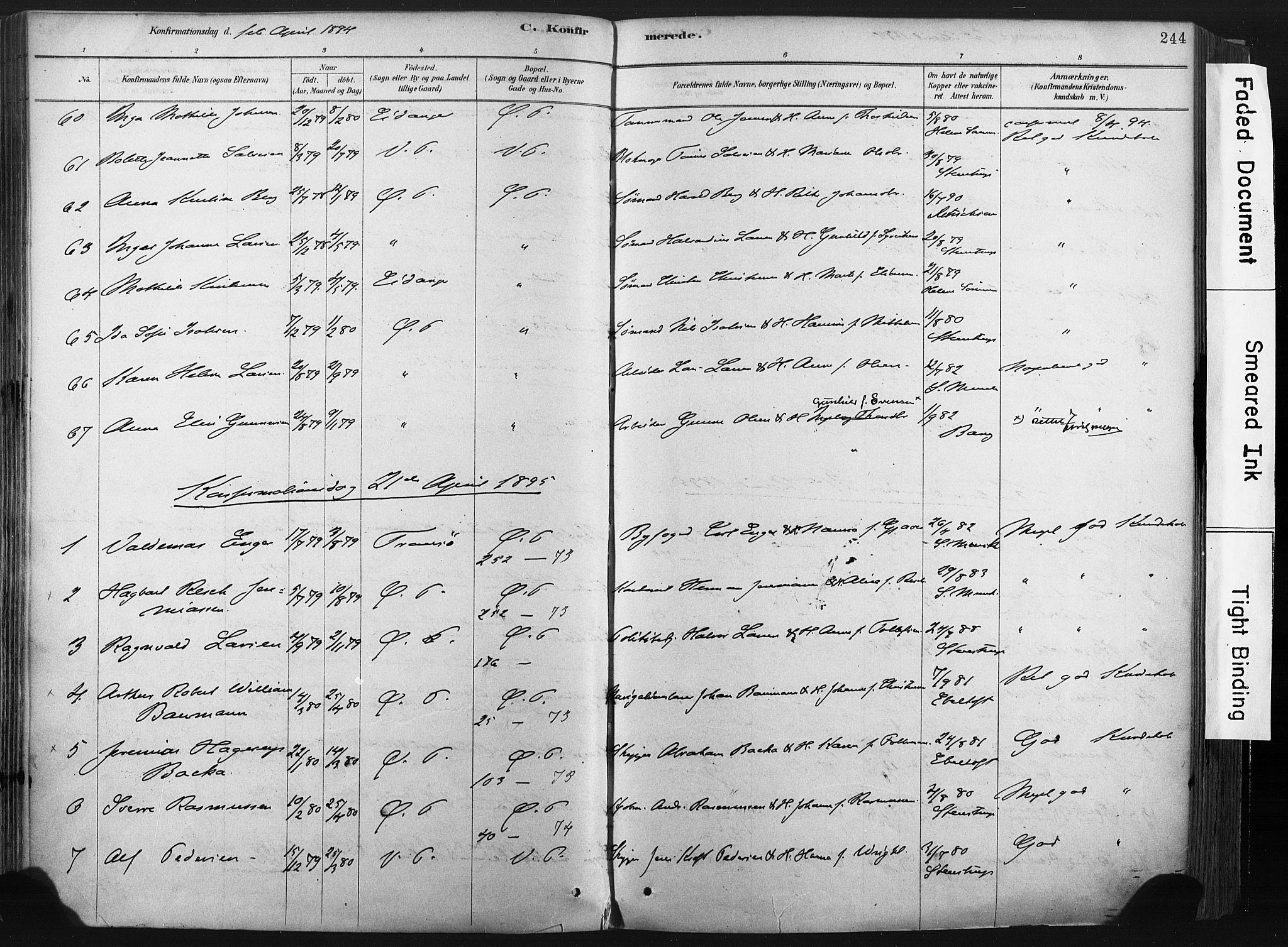 SAKO, Porsgrunn kirkebøker , F/Fa/L0008: Ministerialbok nr. 8, 1878-1895, s. 244