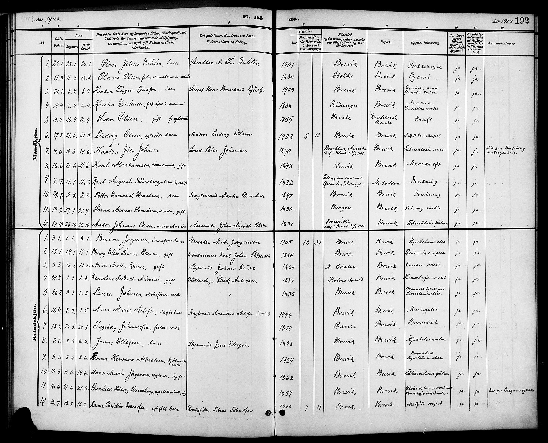 SAKO, Brevik kirkebøker, G/Ga/L0005: Klokkerbok nr. 5, 1901-1924, s. 192