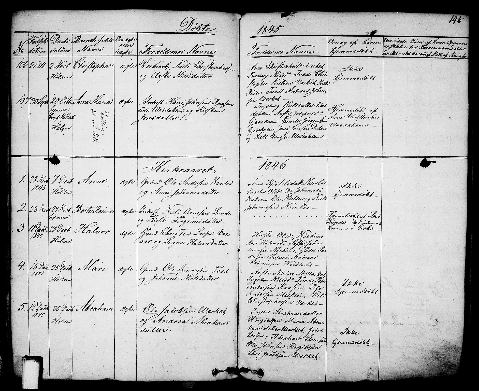 SAKO, Holla kirkebøker, F/Fa/L0004: Ministerialbok nr. 4, 1830-1848, s. 146