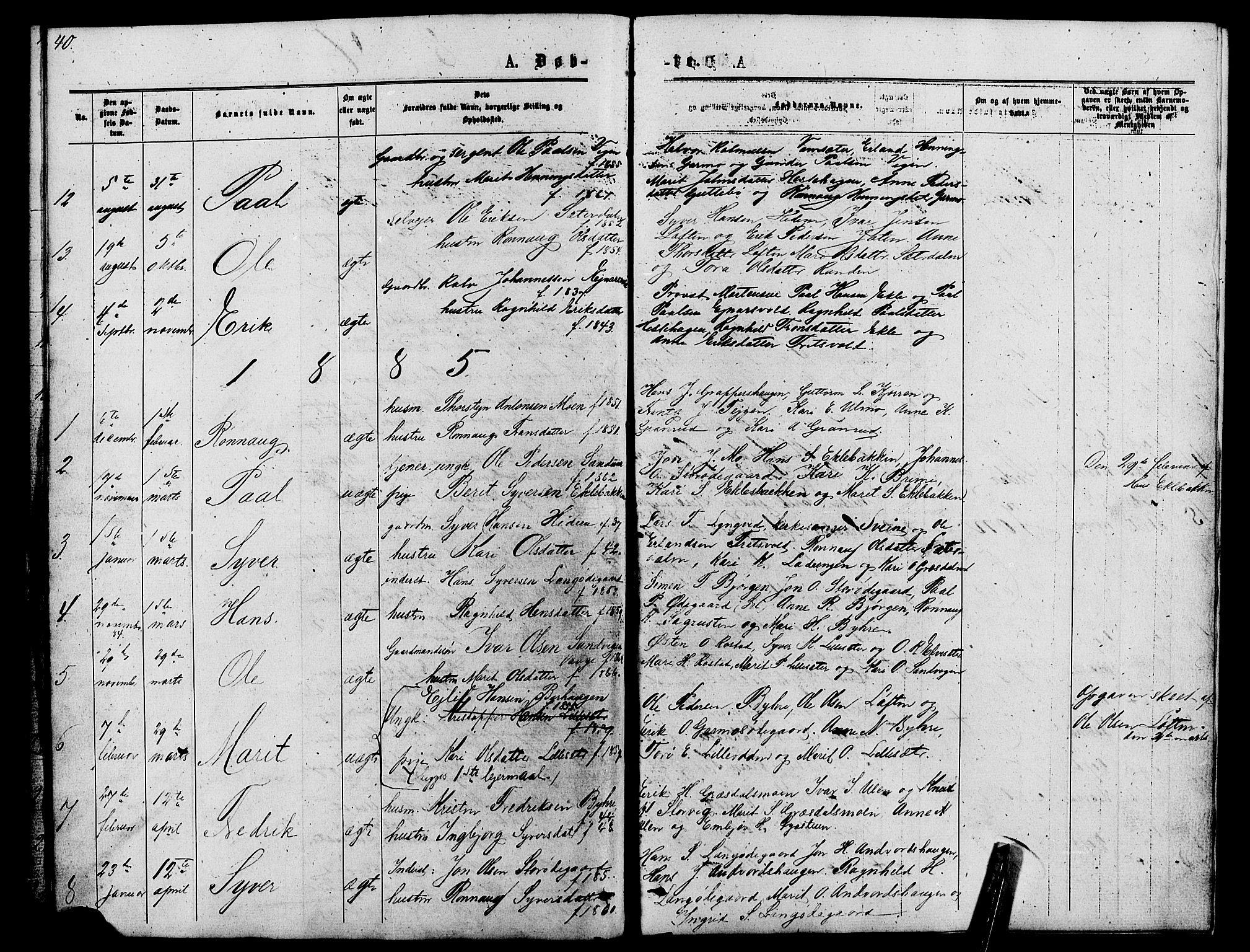 SAH, Lom prestekontor, L/L0005: Klokkerbok nr. 5, 1876-1901, s. 40-41