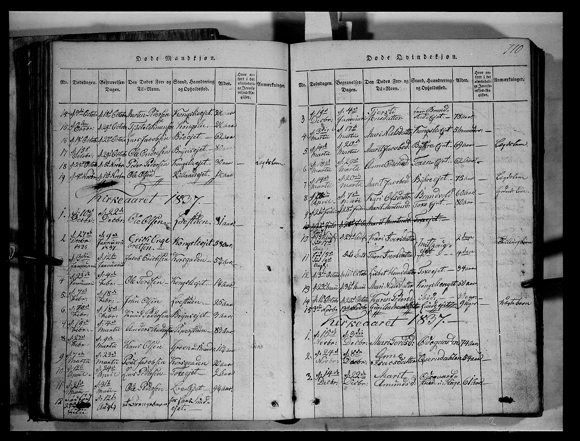 SAH, Fron prestekontor, H/Ha/Hab/L0004: Klokkerbok nr. 4, 1816-1850, s. 110